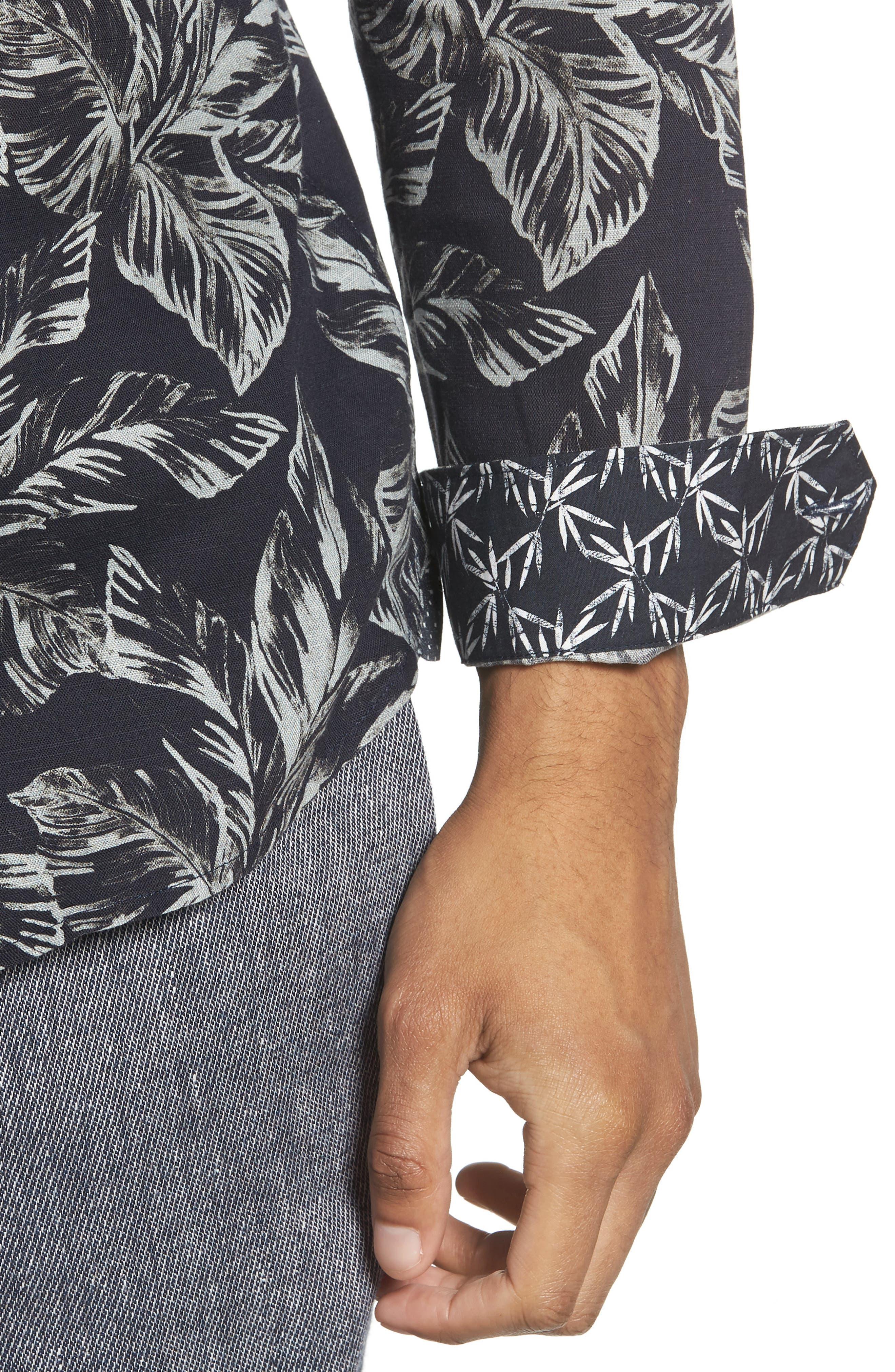 Rinnie Trim Fit Leaf Print Sport Shirt,                             Alternate thumbnail 2, color,                             Navy
