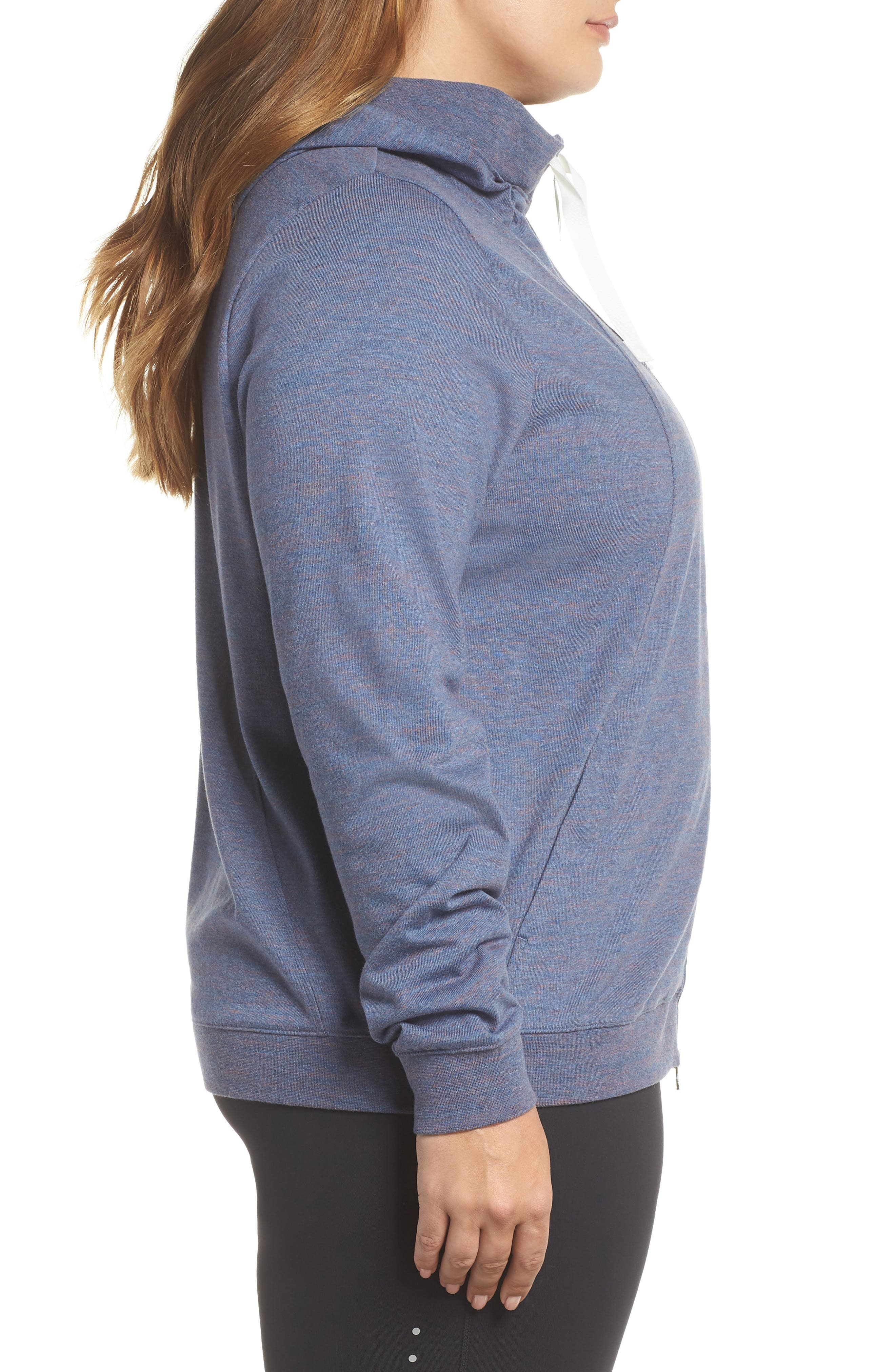 Gym Zip Hoodie,                             Alternate thumbnail 3, color,                             Diffused Blue/ Heather/ Sail