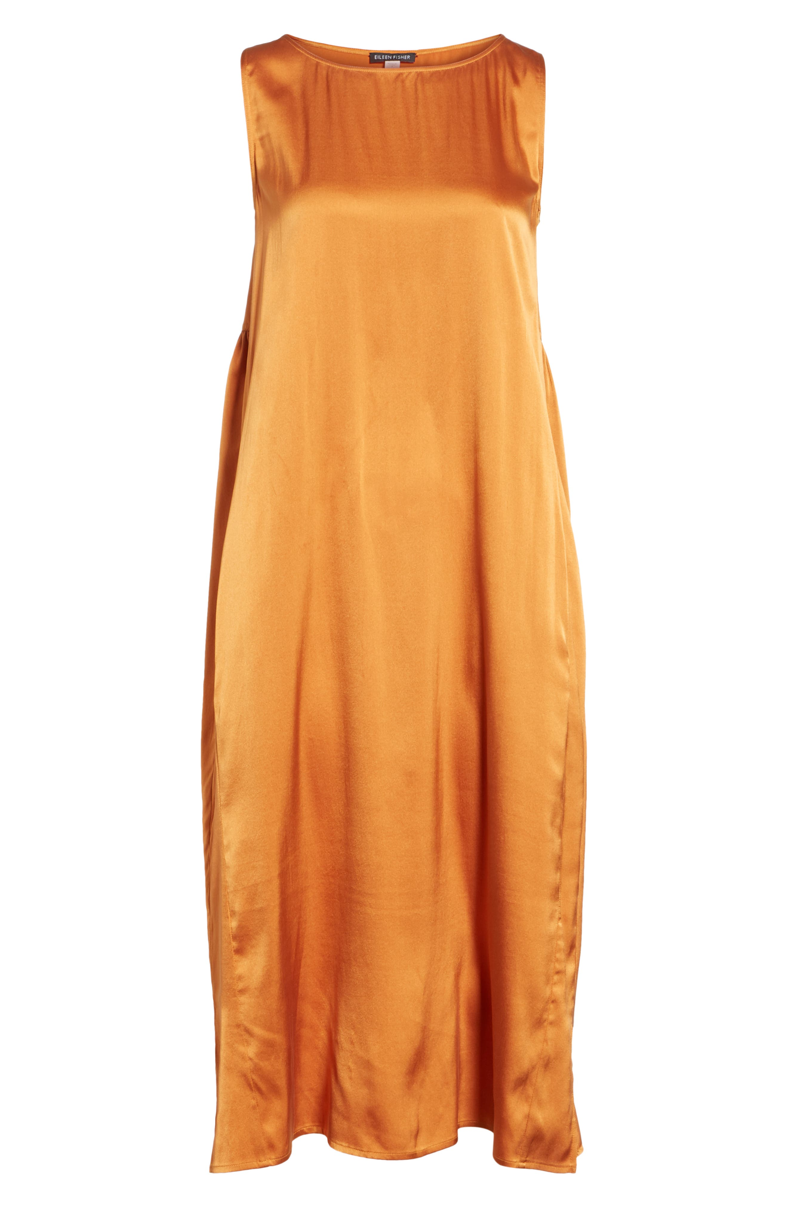 Stretch Silk Tank Dress,                             Alternate thumbnail 6, color,                             Deep Cumin