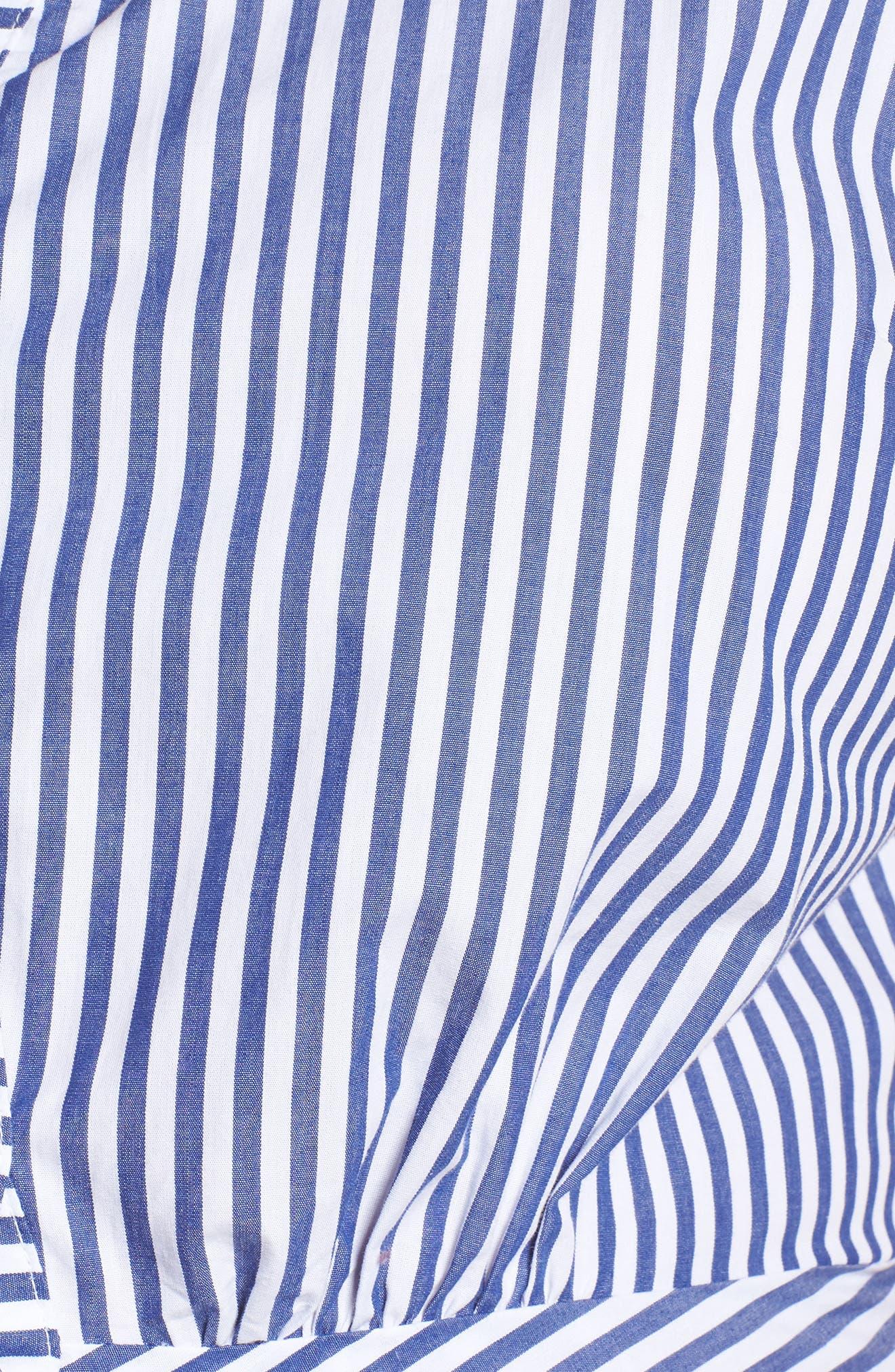 Stripe Ruched Cotton Shirtdress,                             Alternate thumbnail 8, color,                             Blue White Stripe