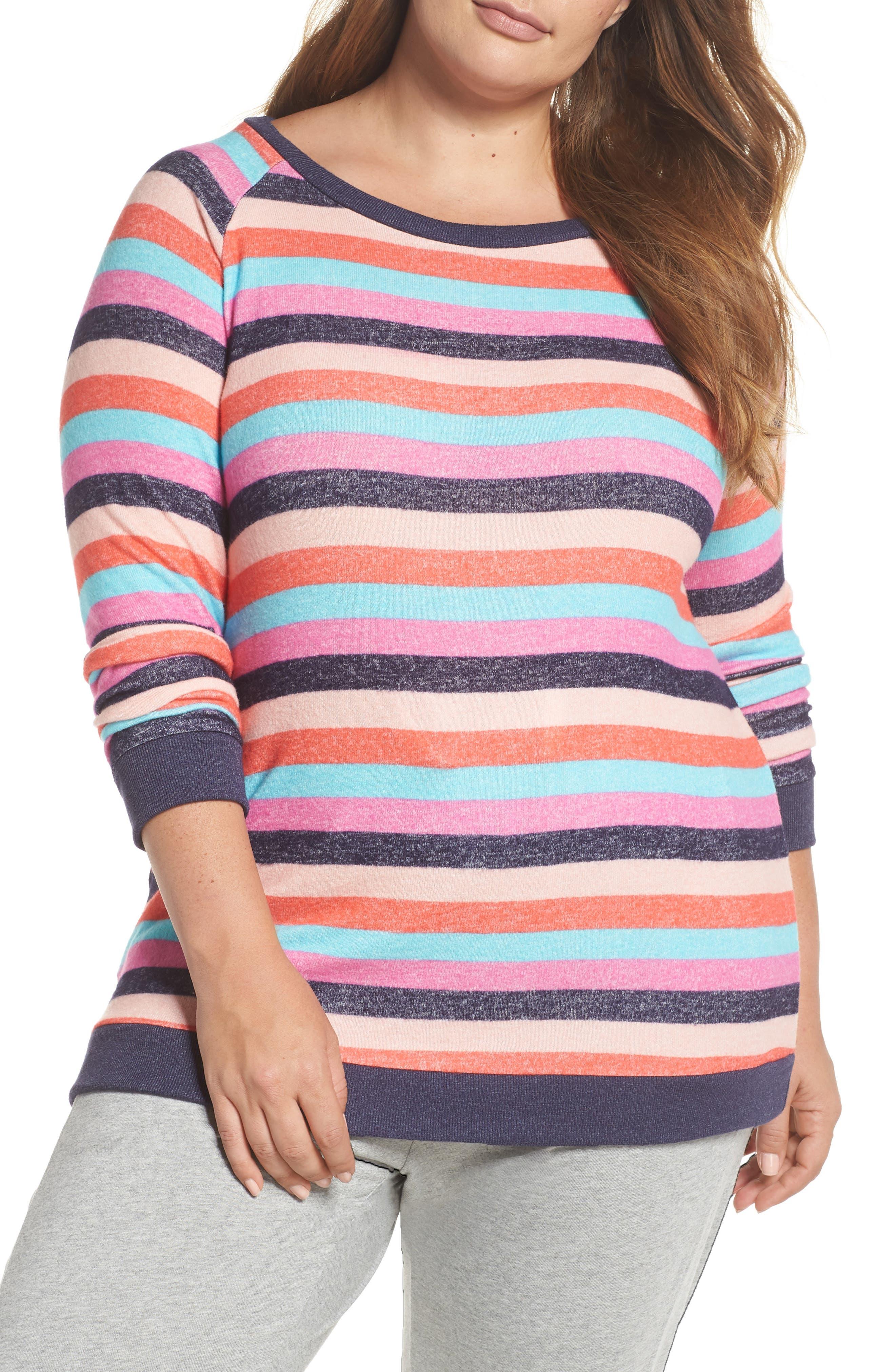 Cozy Crew Lounge Sweater,                             Main thumbnail 1, color,                             Navy Dusk Milli Multi Stripe