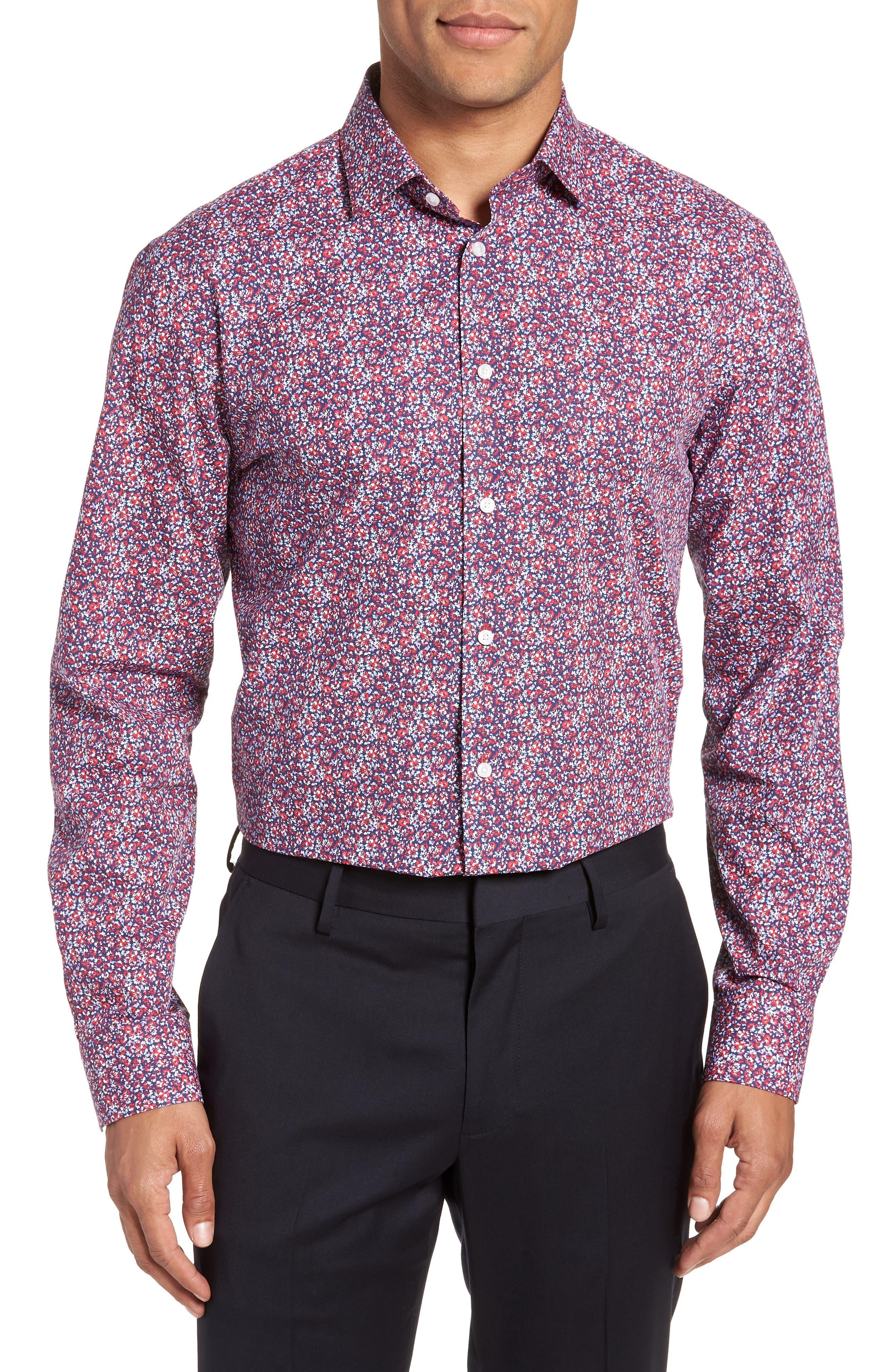 Calibrate Trim Fit Floral Dress Shirt