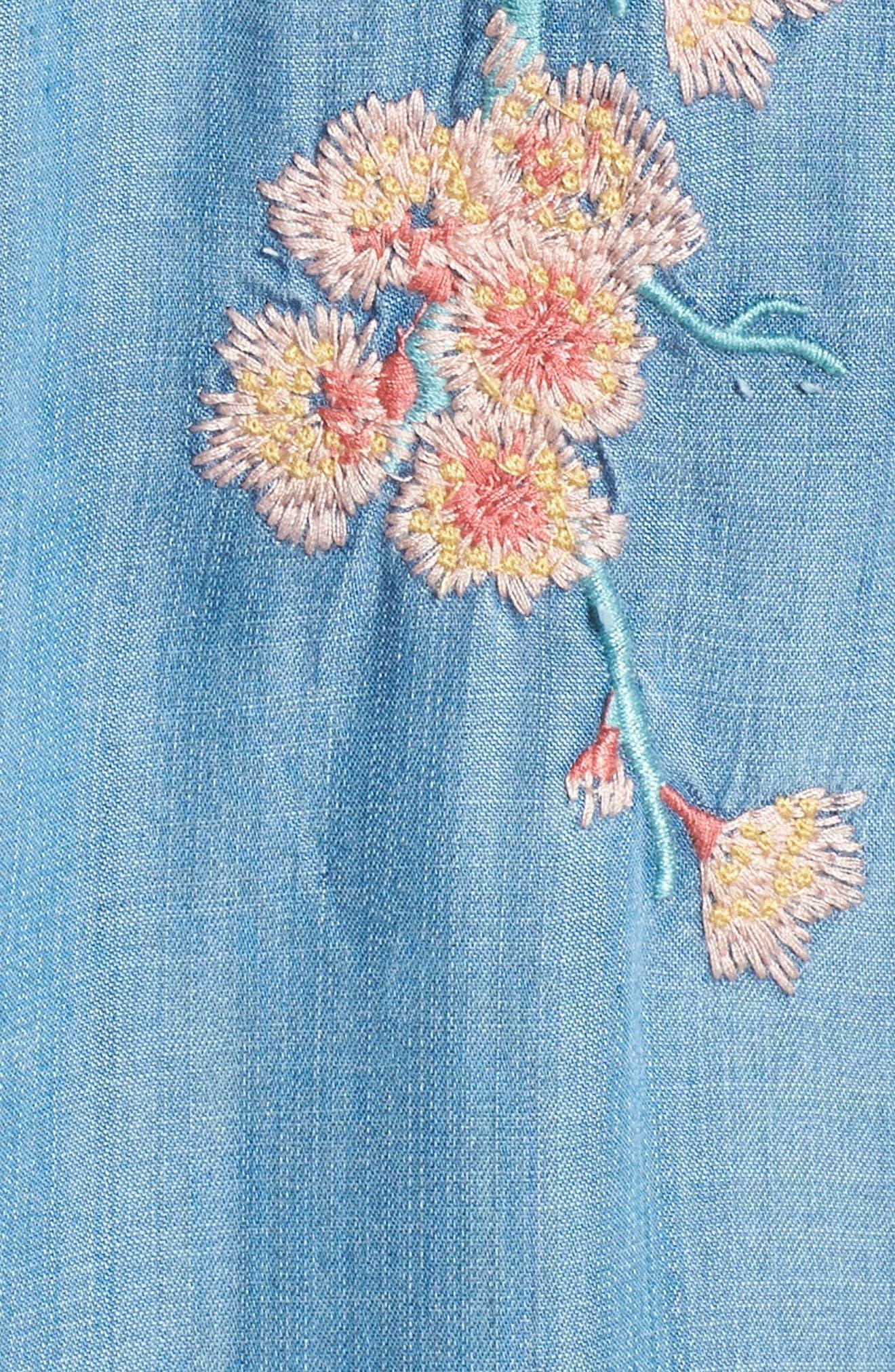Cherry Blossom Shirtdress,                             Alternate thumbnail 6, color,                             Blue Emb