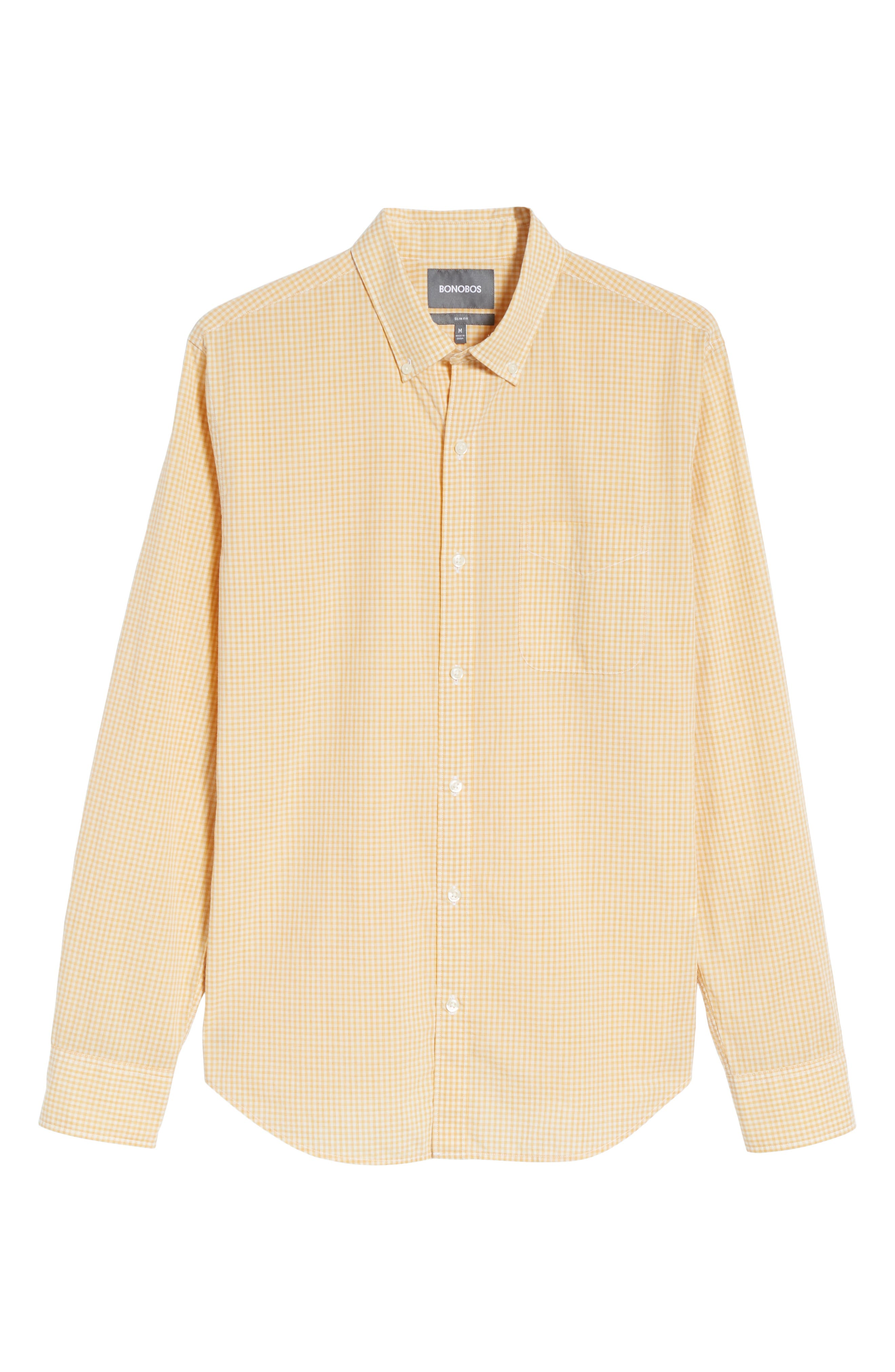Summerweight Slim Fit Gingham Sport Shirt,                             Alternate thumbnail 6, color,                             Heathered - Heather Gold