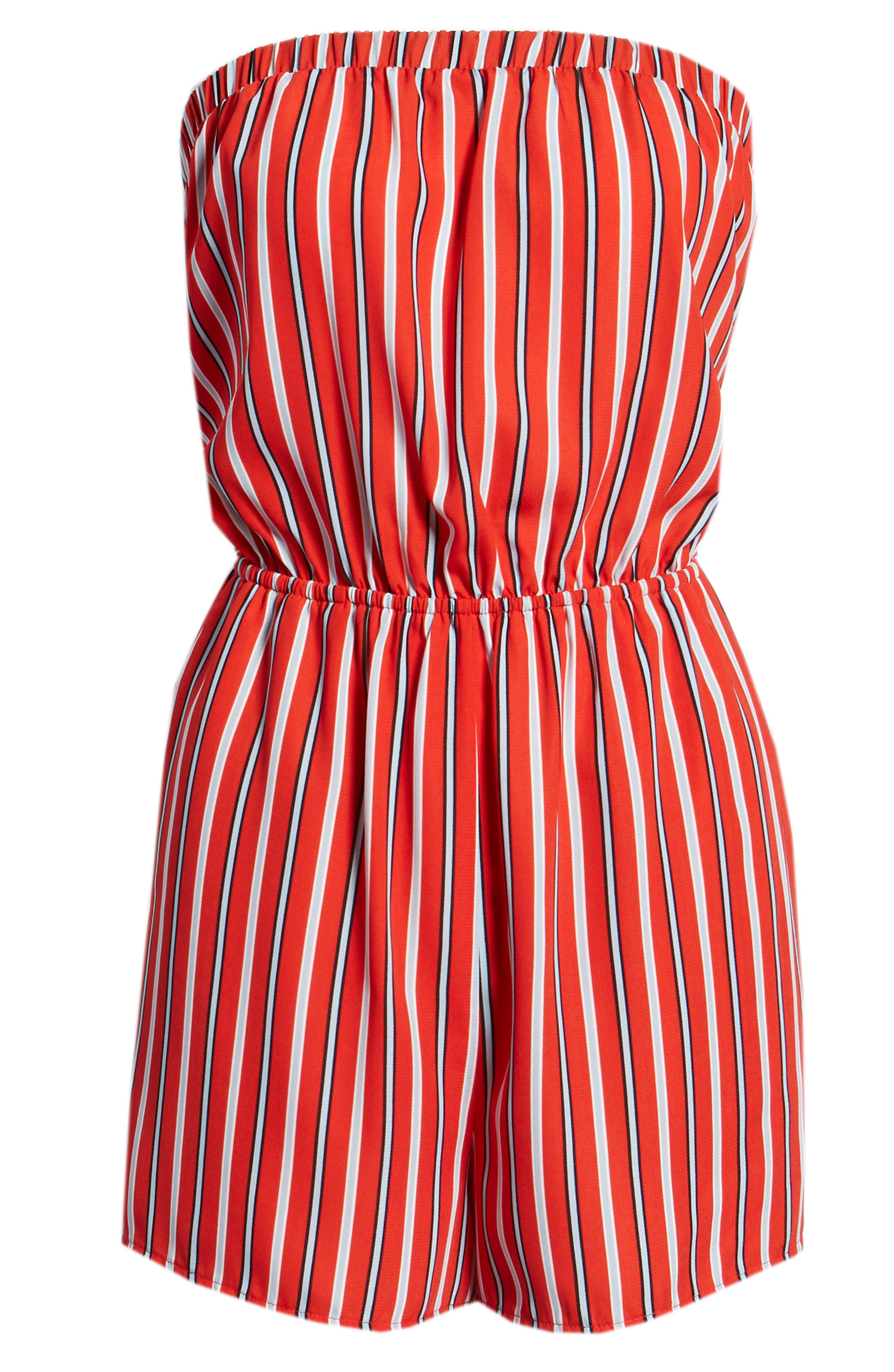 Strapless Tie Back Romper,                             Alternate thumbnail 7, color,                             Candy Red