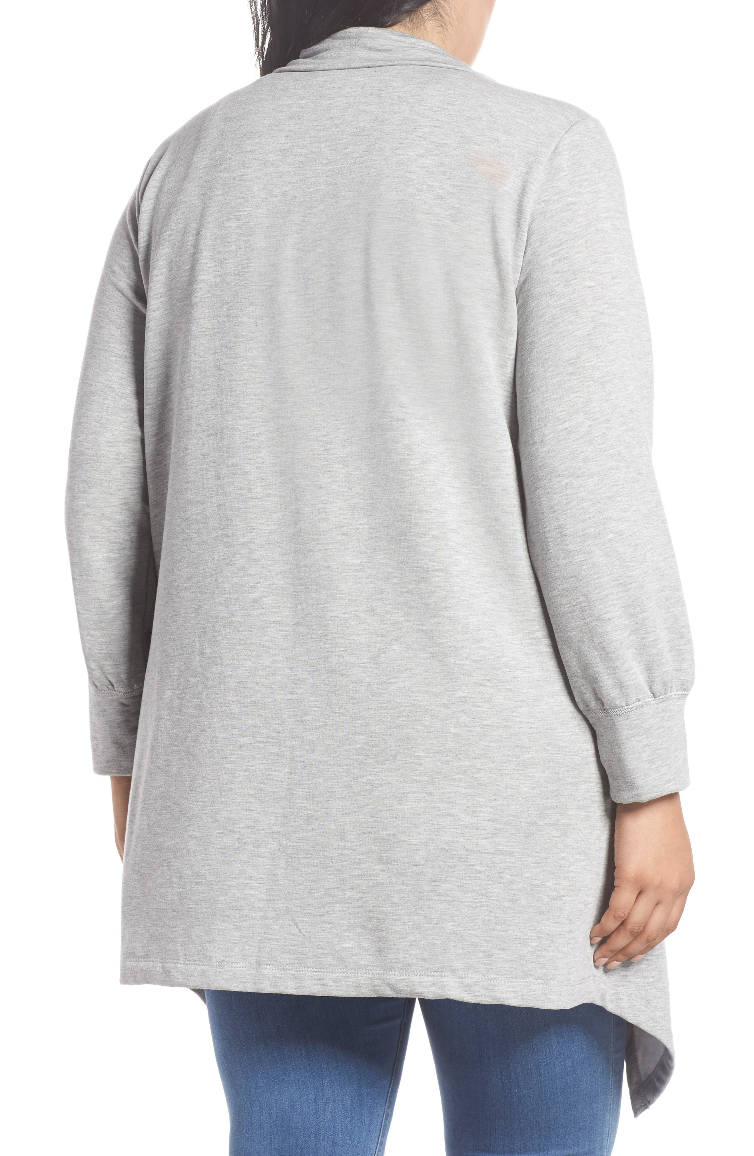 Off-Duty Fleece Knit Cardigan,                             Alternate thumbnail 2, color,                             Grey Heather