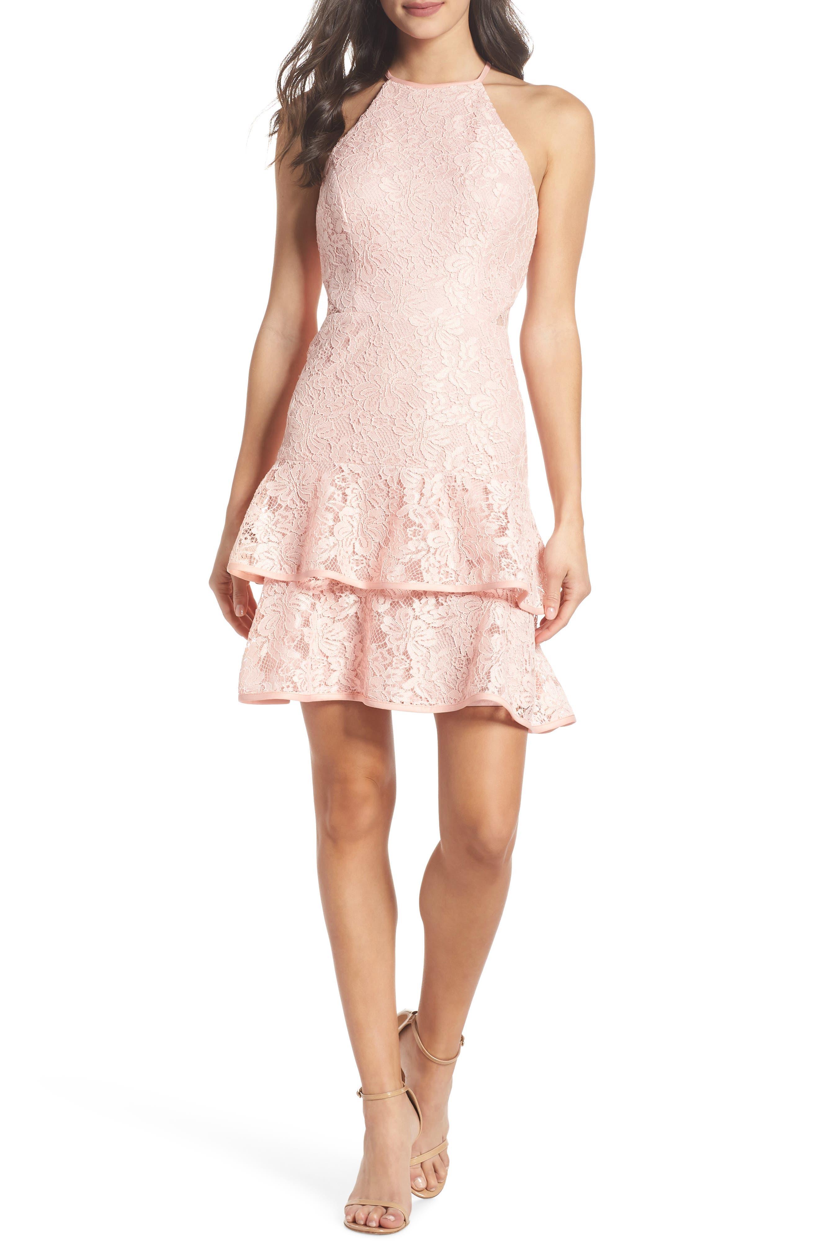 Ruffle Tier Lace Party Dress,                             Main thumbnail 1, color,                             Blush