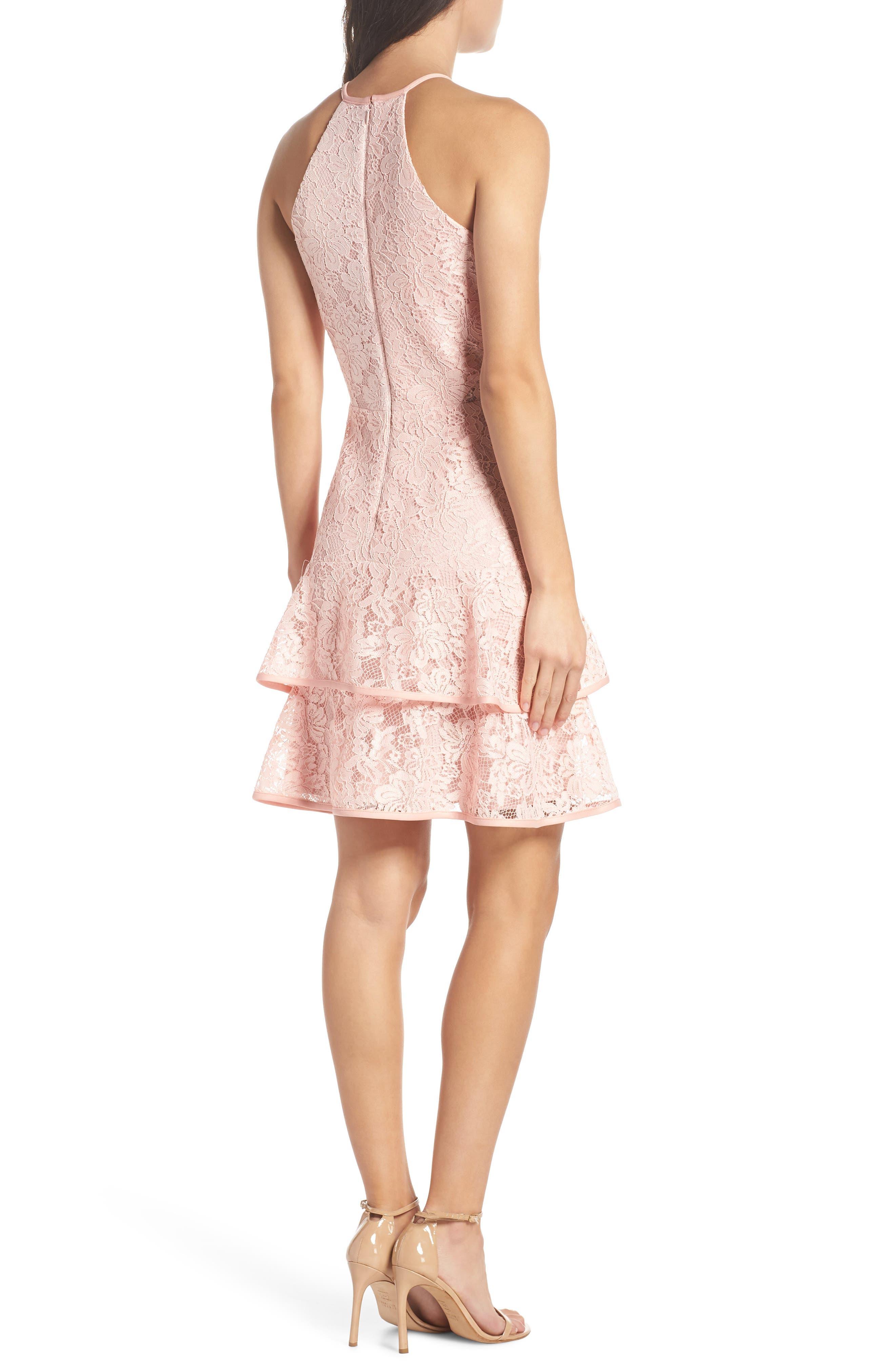Ruffle Tier Lace Party Dress,                             Alternate thumbnail 2, color,                             Blush