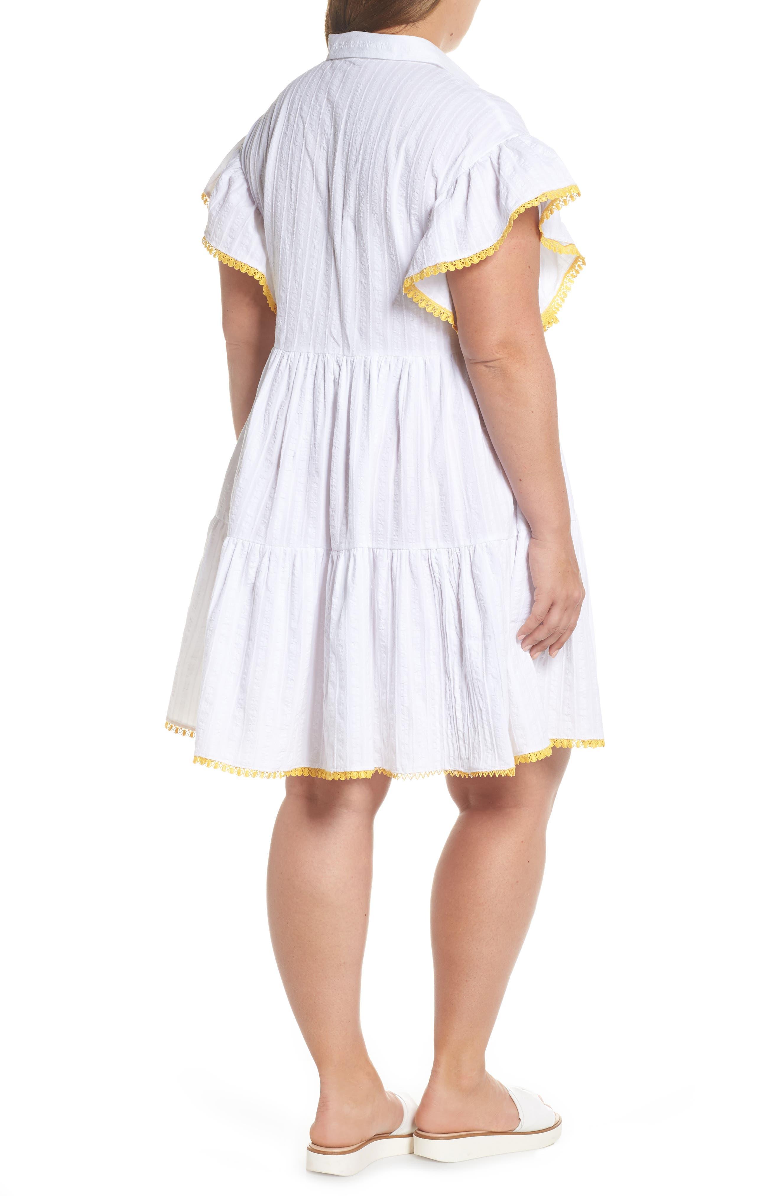 Shirred Shirt Dress,                             Alternate thumbnail 2, color,                             White