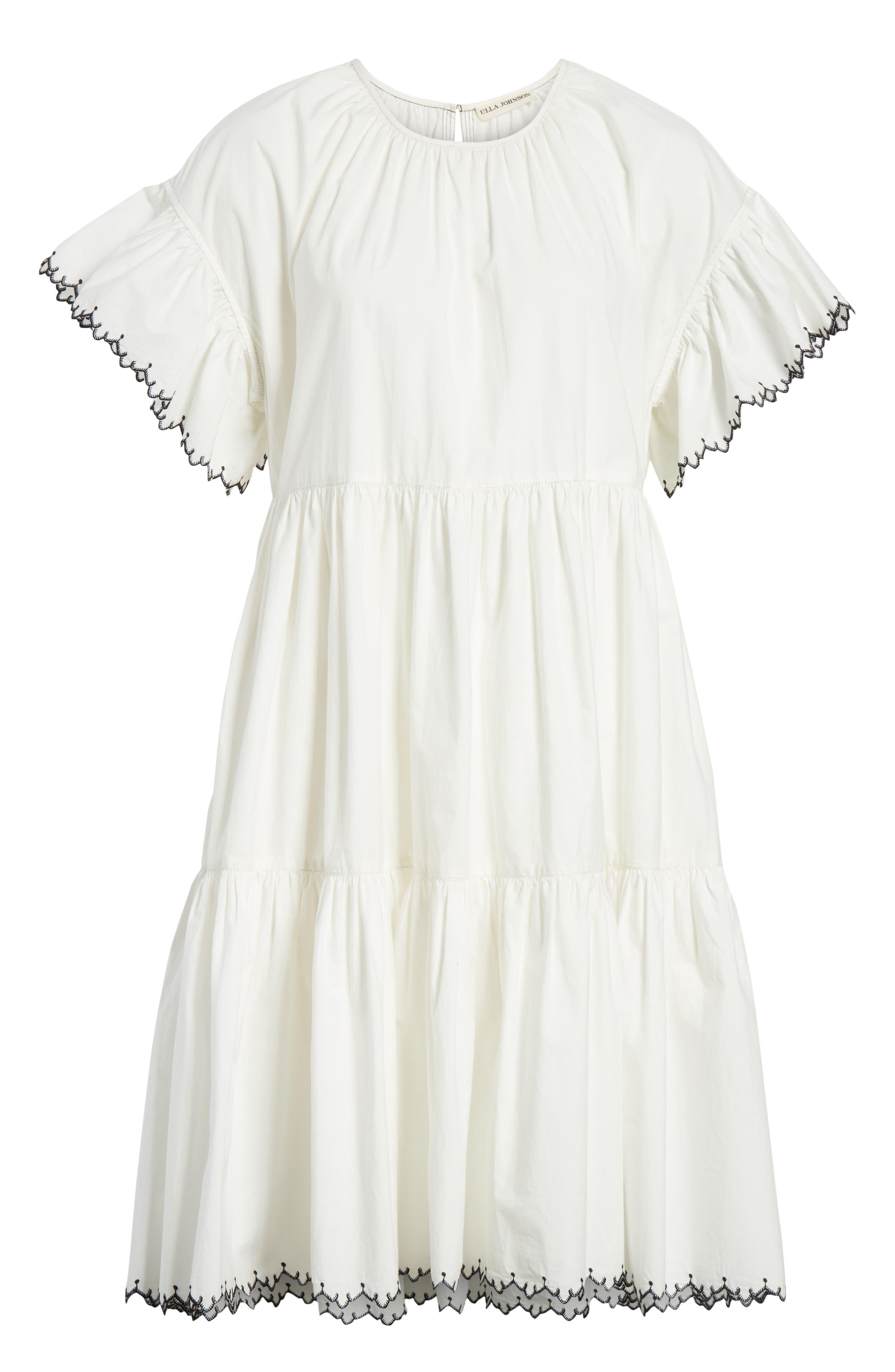 Rosemarie Cotton Poplin Dress,                             Alternate thumbnail 6, color,                             Blanc