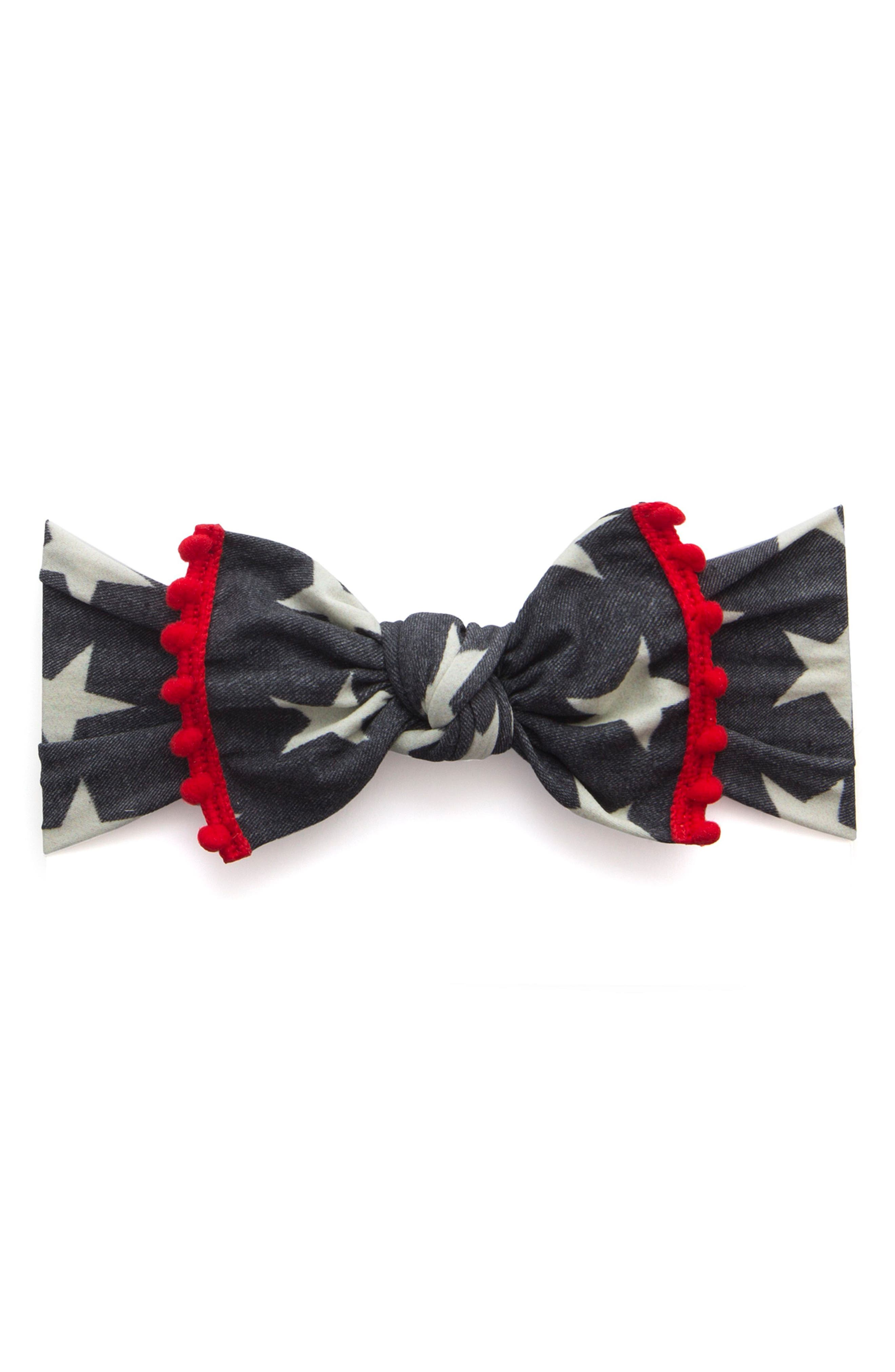 Pompom Trim Print Knot Headband,                             Main thumbnail 1, color,                             Light Denim Stars