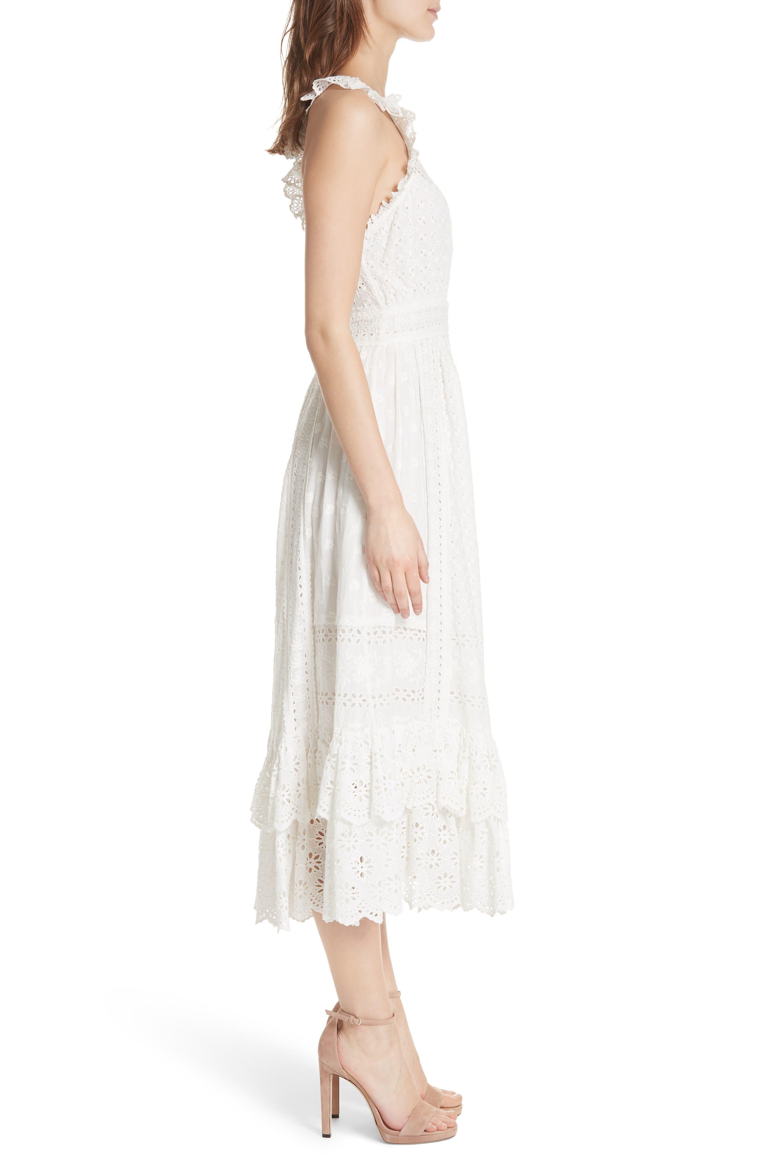 Willow Eyelet Dress,                             Alternate thumbnail 3, color,                             Blanc