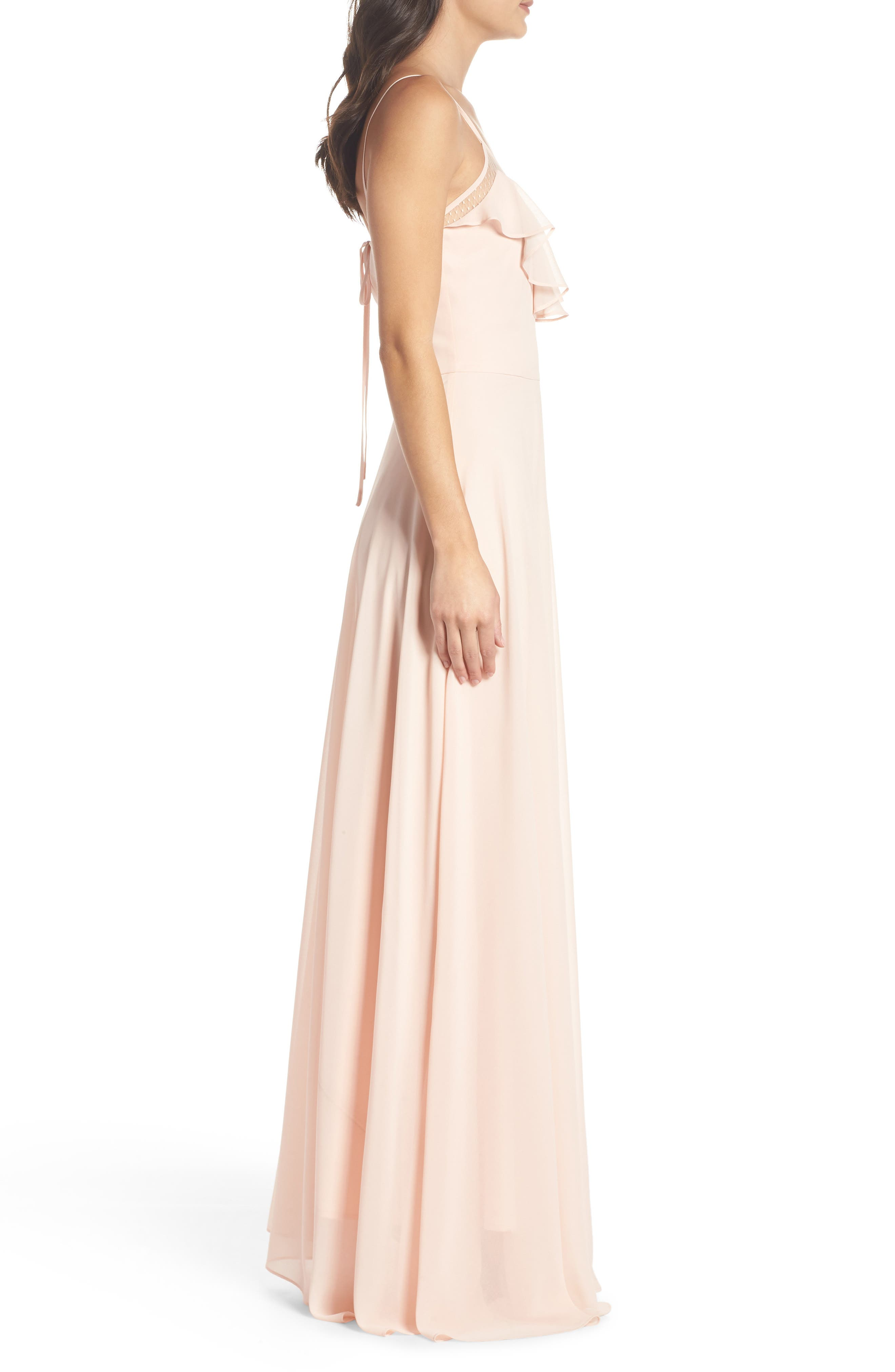 Francie Ruffle V-Neck Gown,                             Alternate thumbnail 3, color,                             Petal