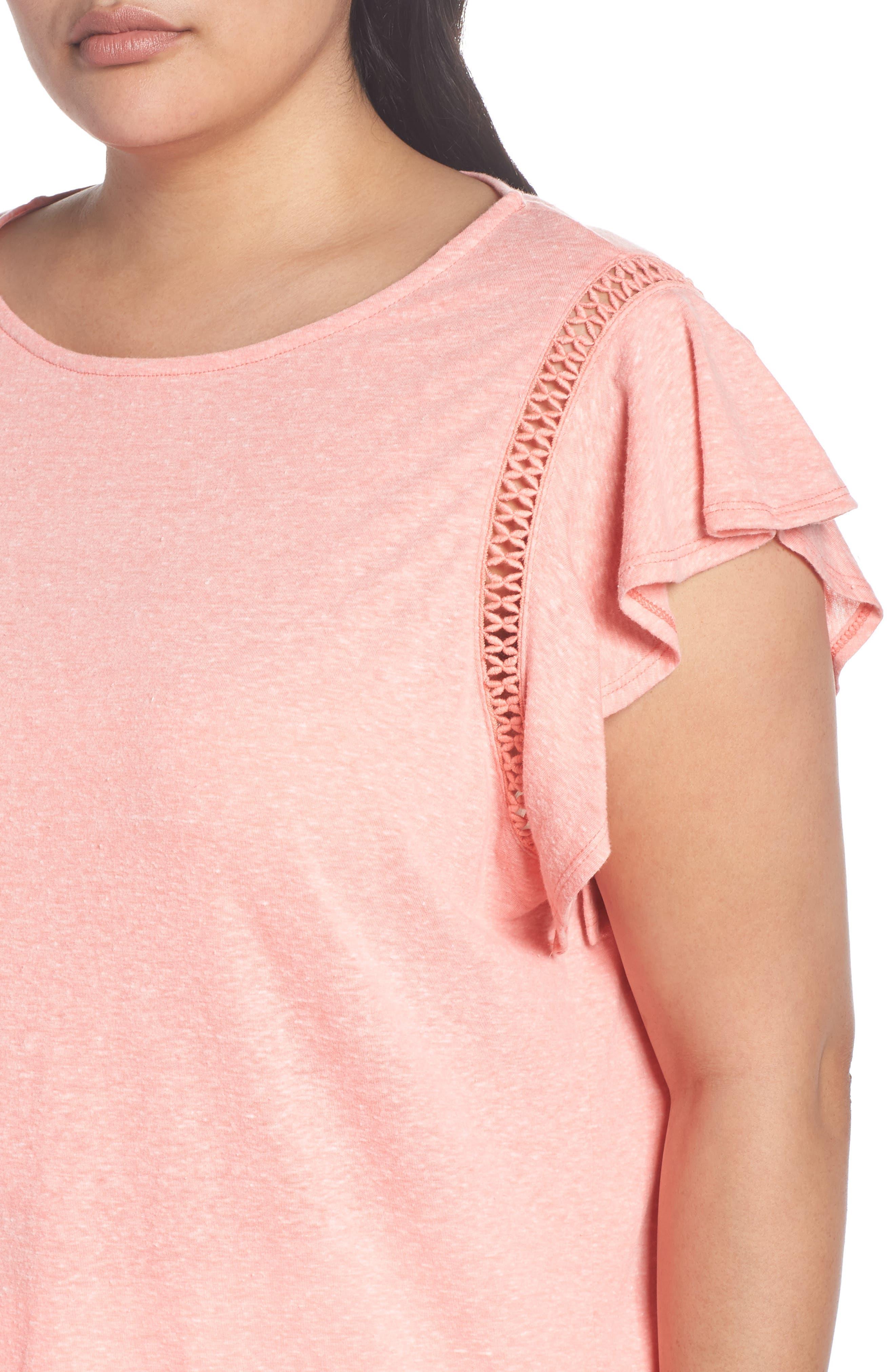 Flutter Sleeve Crochet Detail Top,                             Alternate thumbnail 4, color,                             Coral