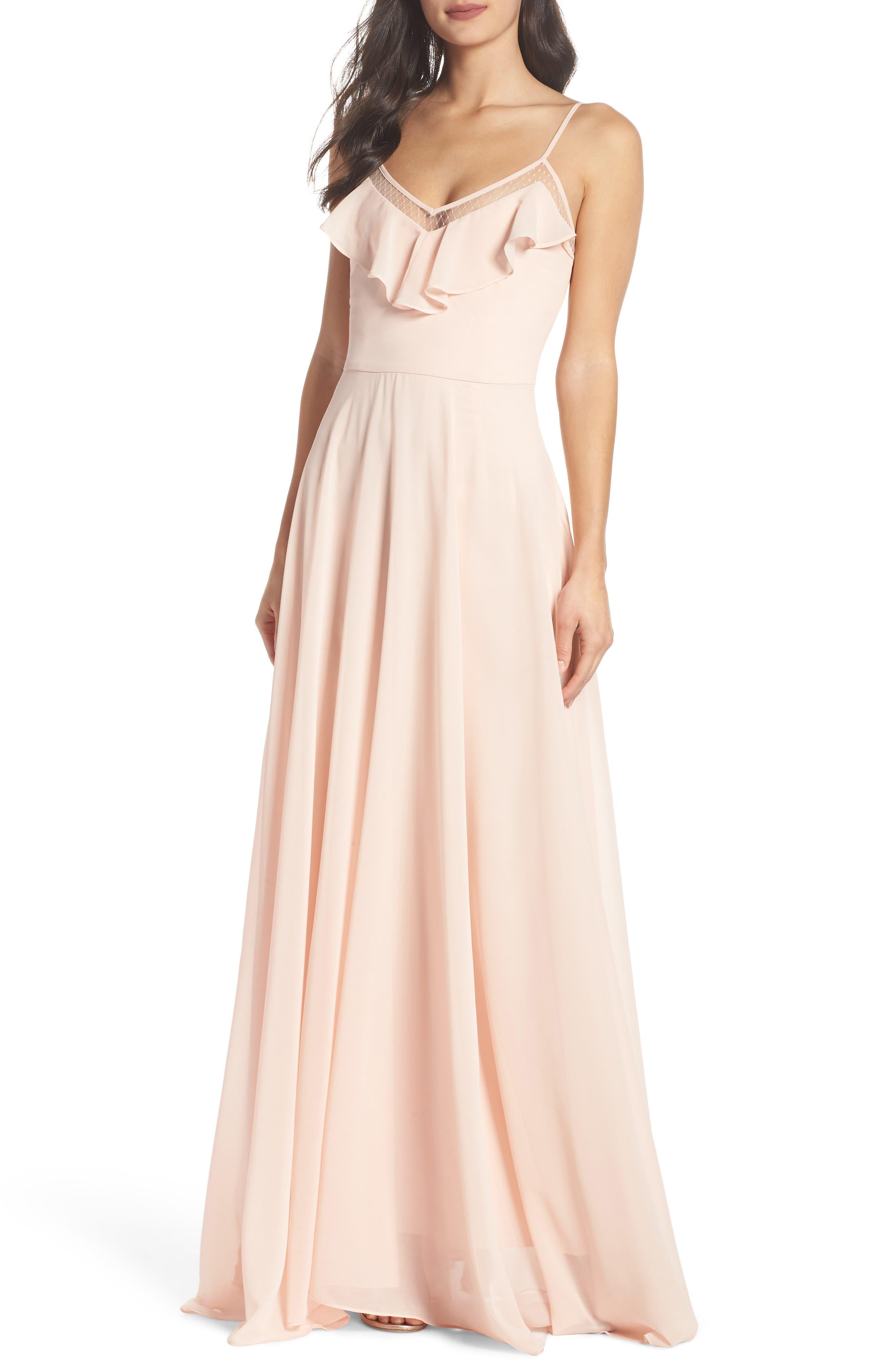 Francie Ruffle V-Neck Gown,                         Main,                         color, Petal