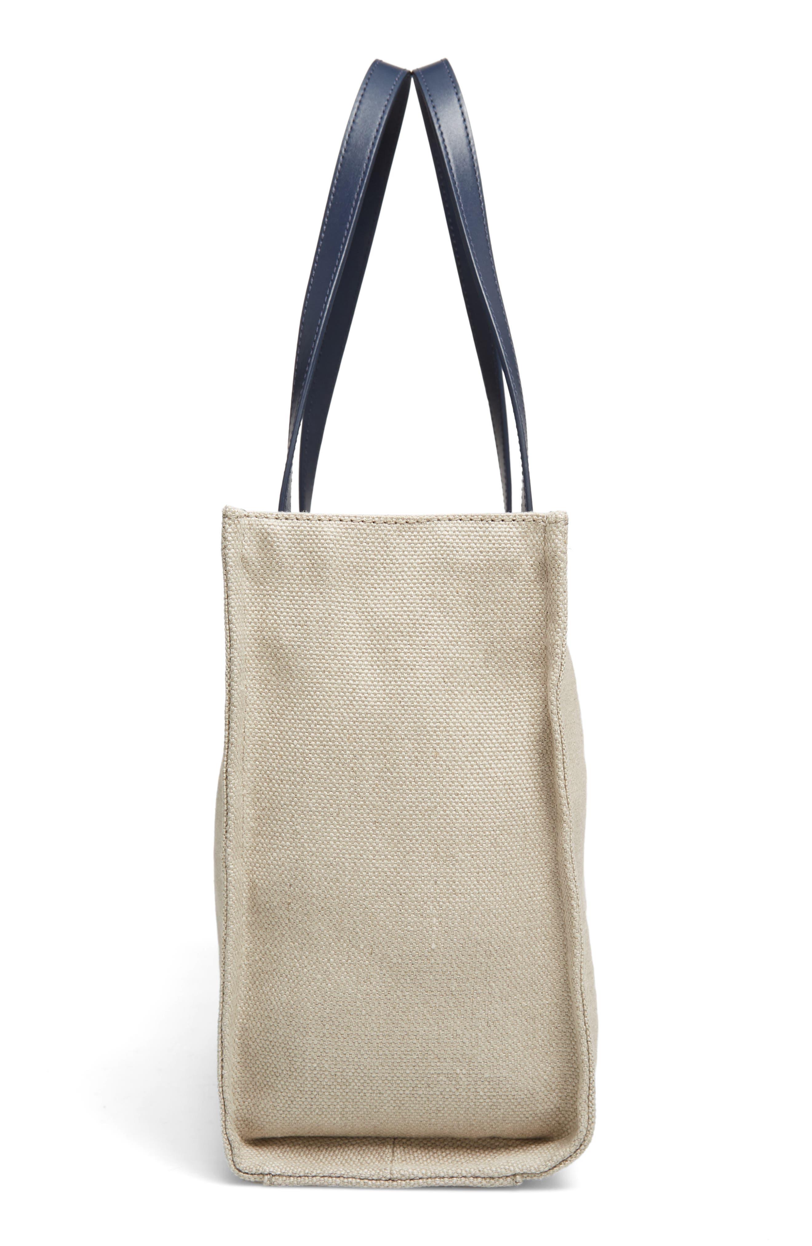 washington square - mega sam canvas satchel,                             Alternate thumbnail 5, color,                             Natural Linen/Bubble Gum/Navy