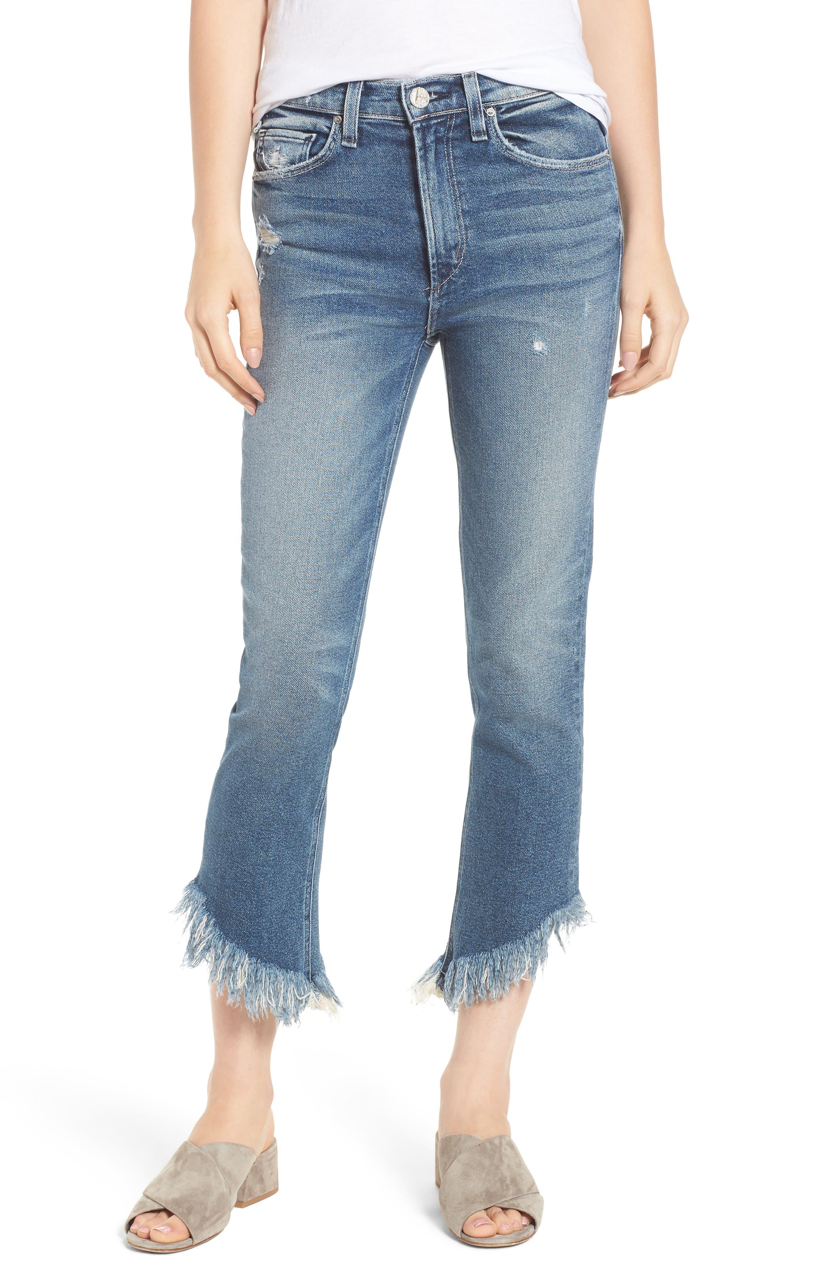 Valletta High Waist Crop Straight Leg Jeans,                         Main,                         color, Goldi