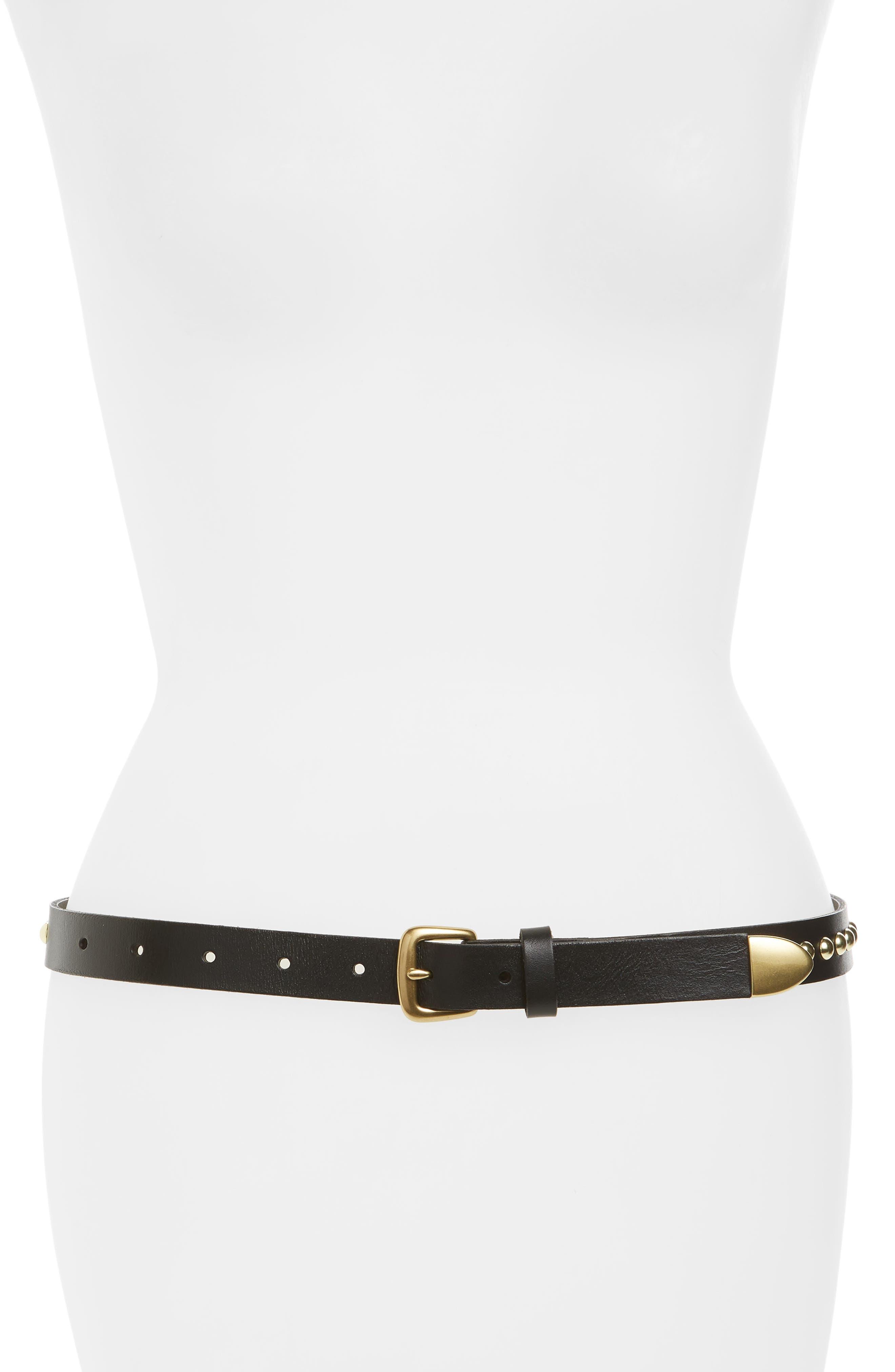Metal Tipped Studded Skinny Belt,                         Main,                         color, Black
