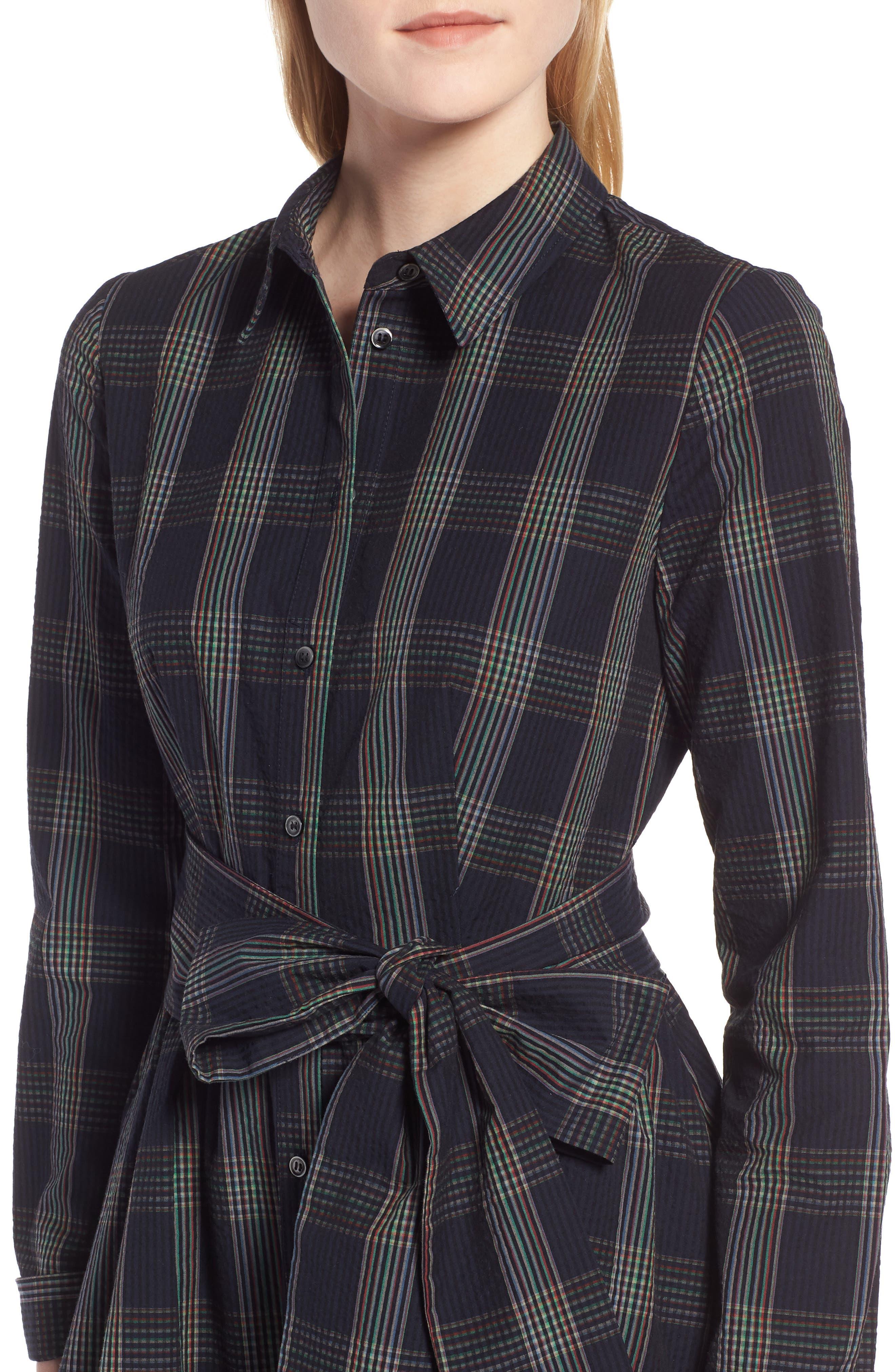 Plaid Midi Shirtdress,                             Alternate thumbnail 4, color,                             Navy Multi Plaid