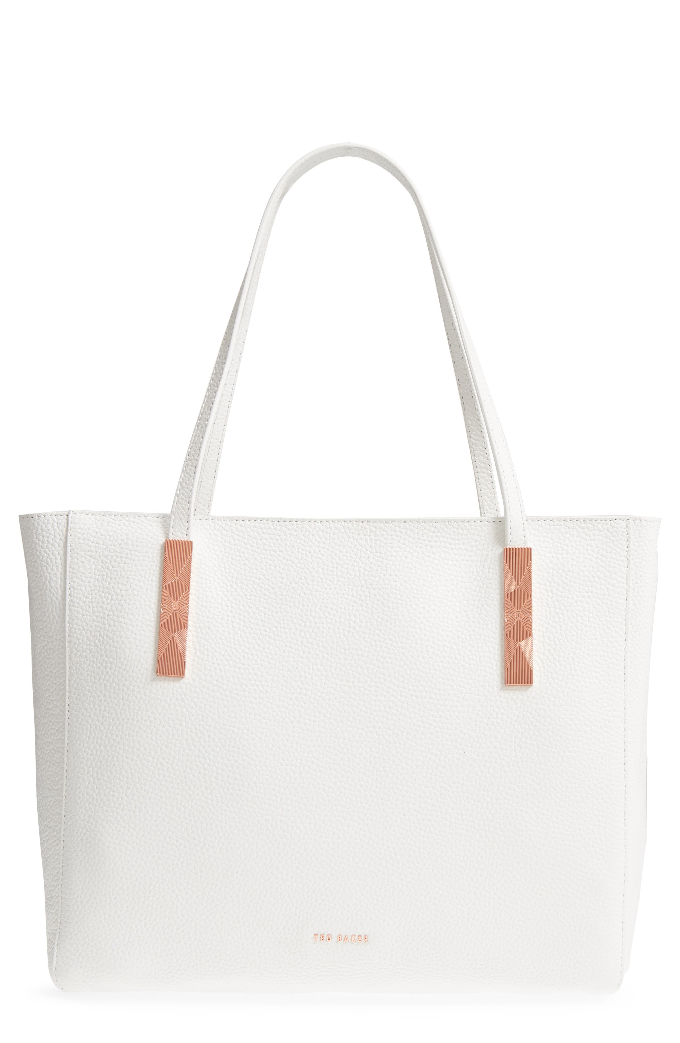 Pebbled Leather Tote,                             Main thumbnail 1, color,                             White
