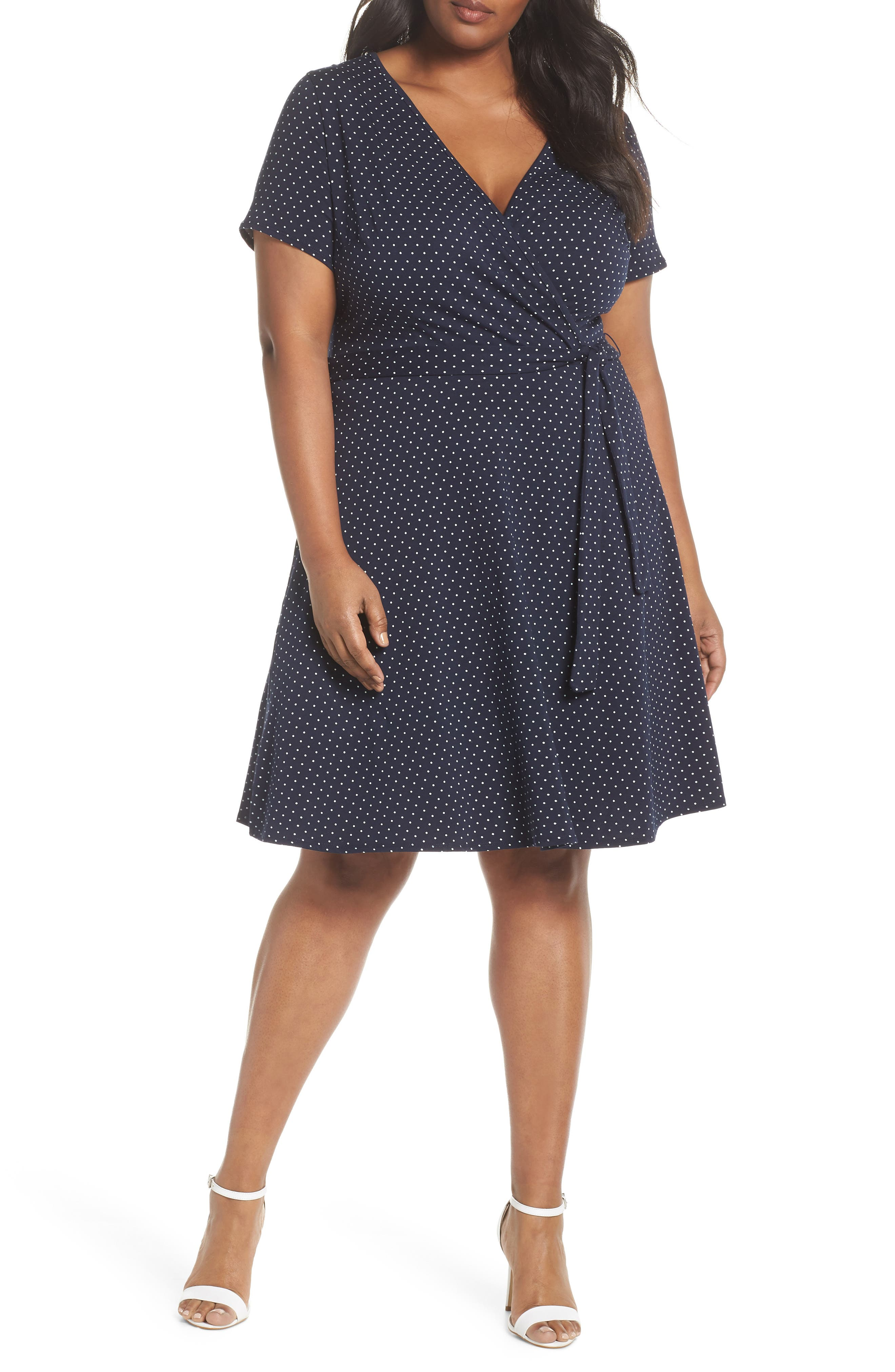 Spot Fit & Flare Wrap Dress,                             Main thumbnail 1, color,                             Navy