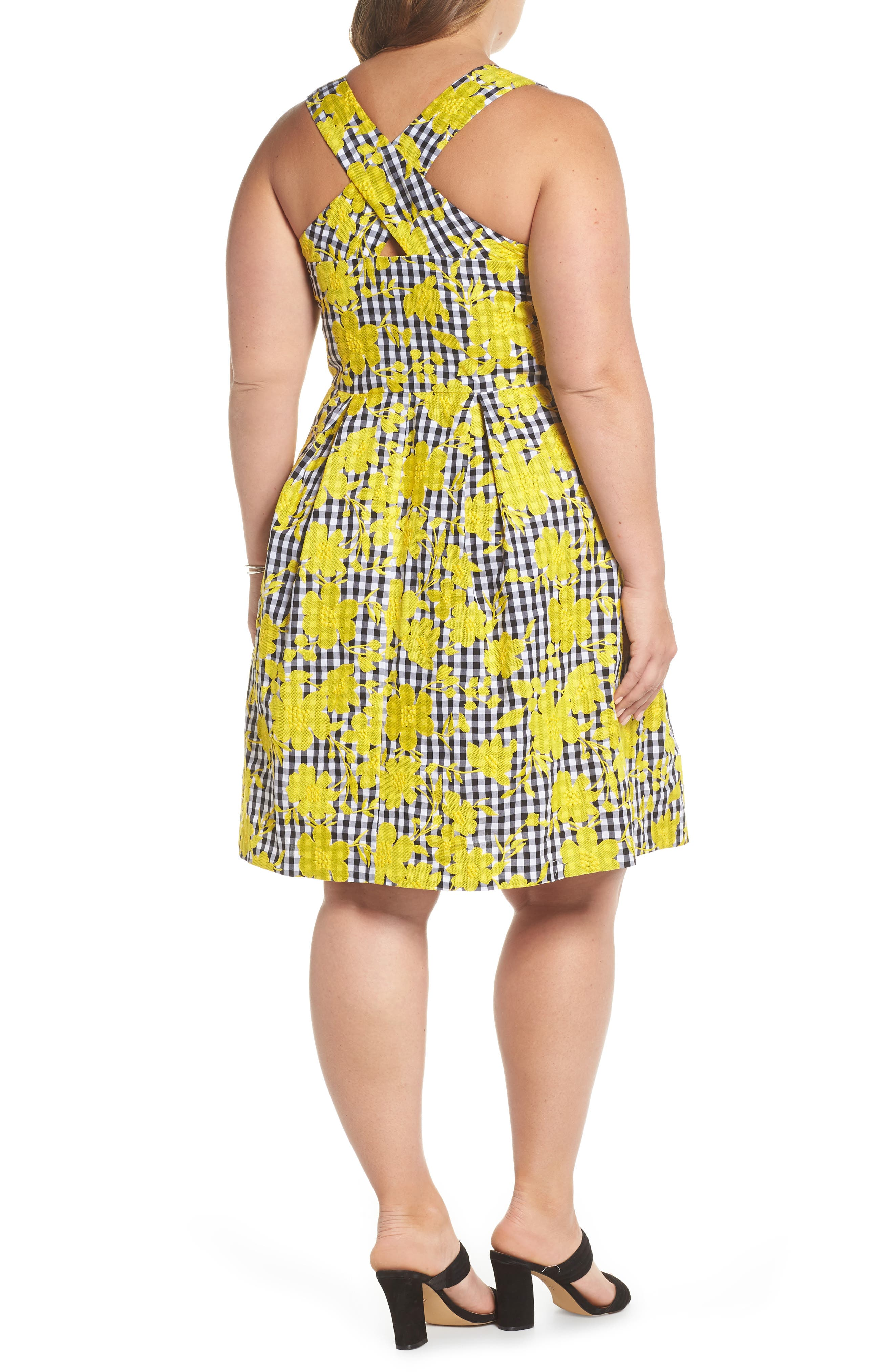 Embroidered Gingham Fit & Flare Dress,                             Alternate thumbnail 2, color,                             Yellow- Black Gingham