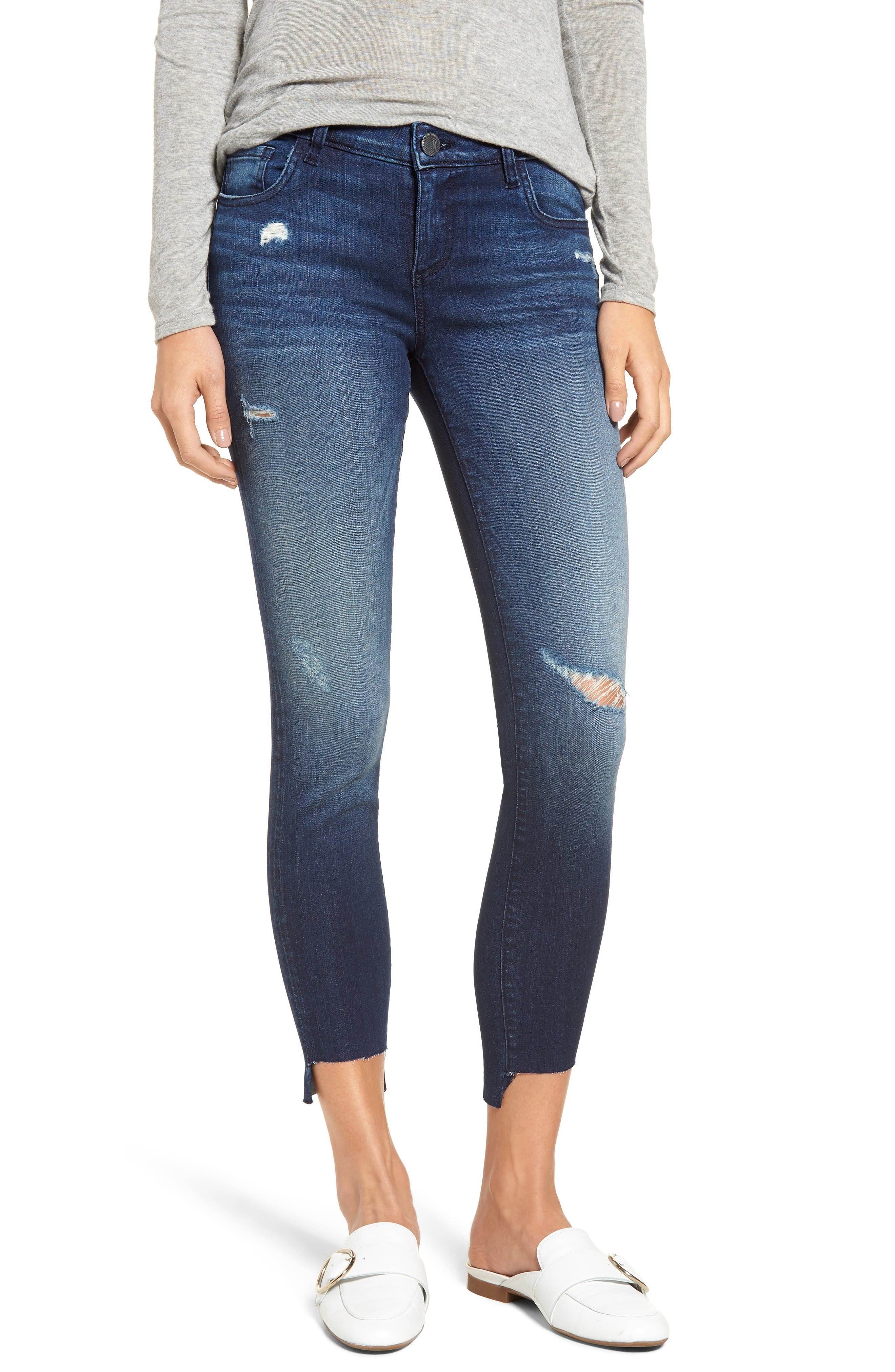 Connie Step Hem Skinny Jeans, Main, color, Clean