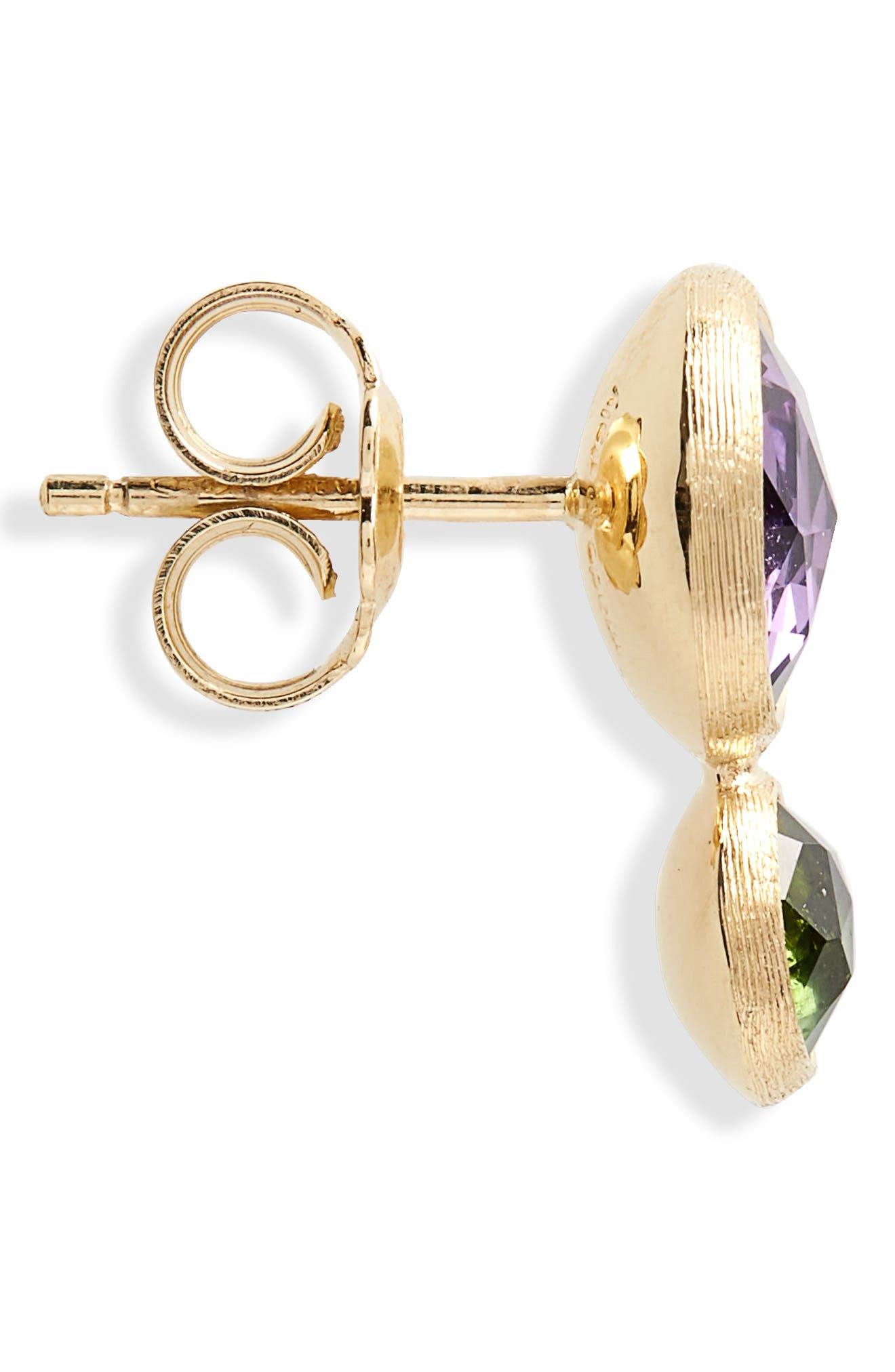 Jaipur Amethyst & Tourmaline Stud Earrings,                             Alternate thumbnail 4, color,                             Yello Gold/ Amethyst