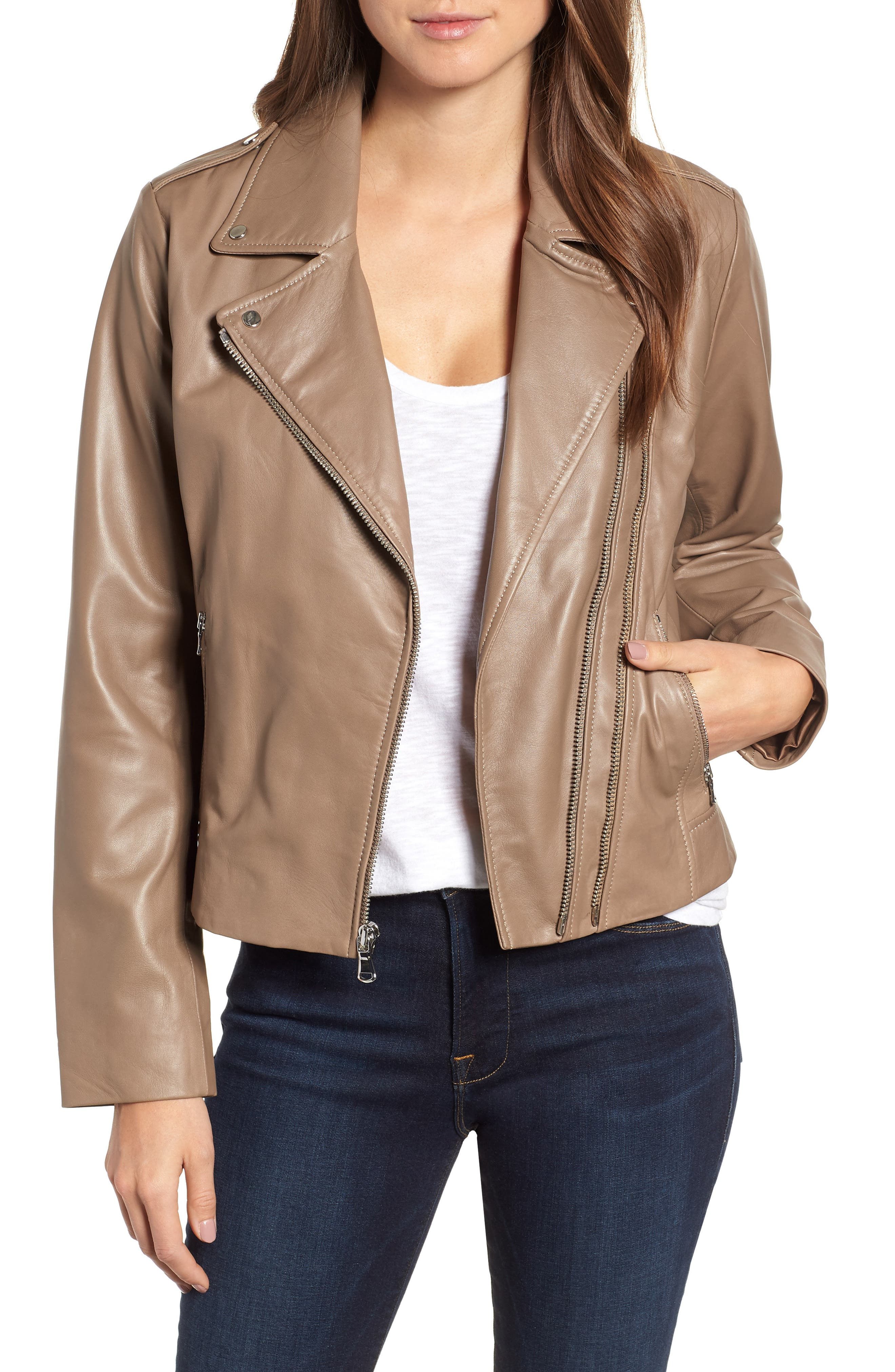 BERNARDO Double Zip Leather Jacket in Bark