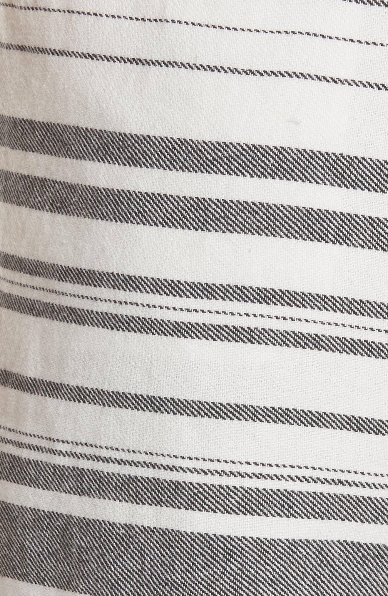 Brusha Stripe Cotton Twill Shorts,                             Alternate thumbnail 5, color,                             Caviar