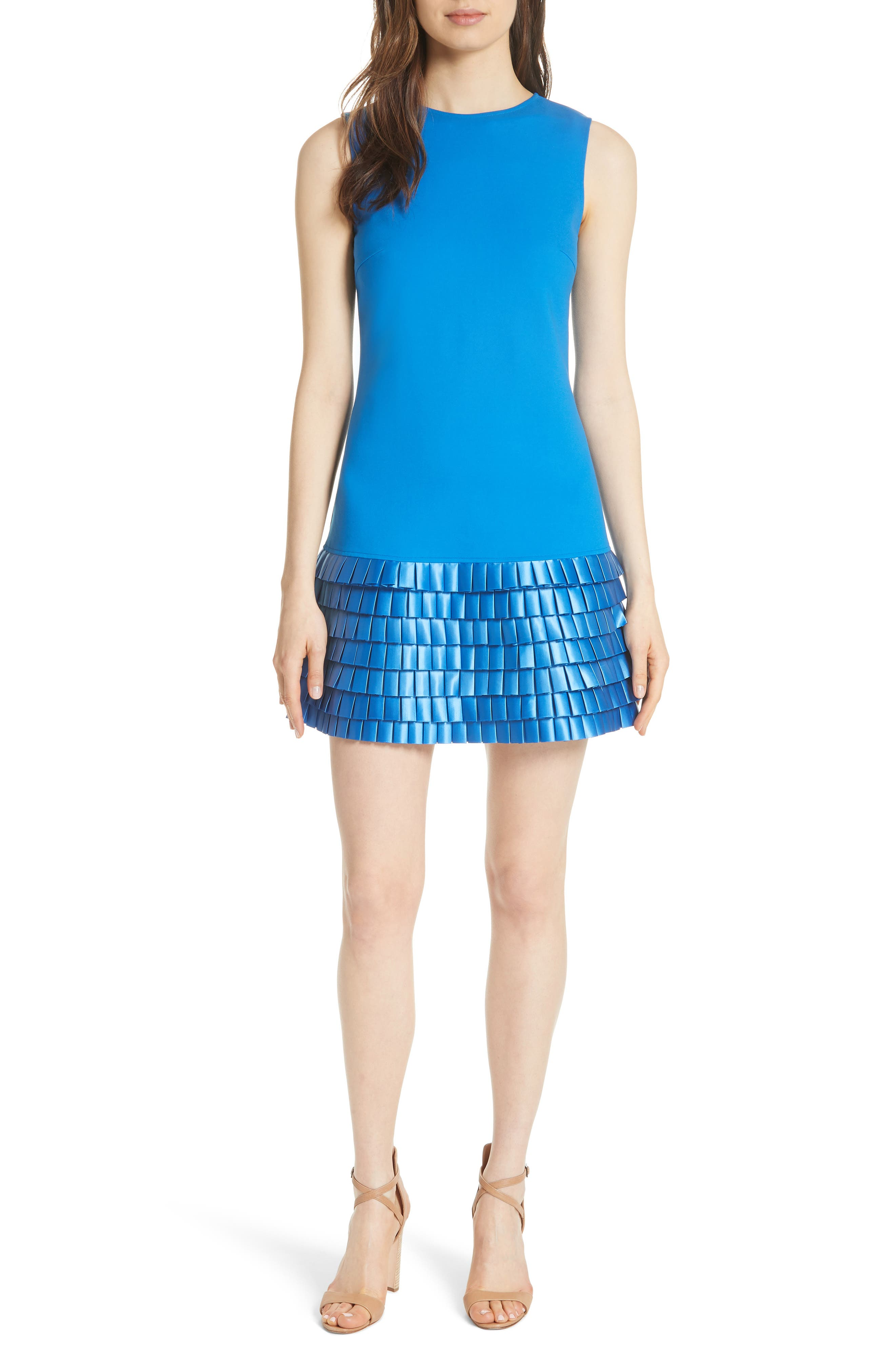 Marggia Satin Loop Detail Shift Dress,                         Main,                         color, Bright Blue