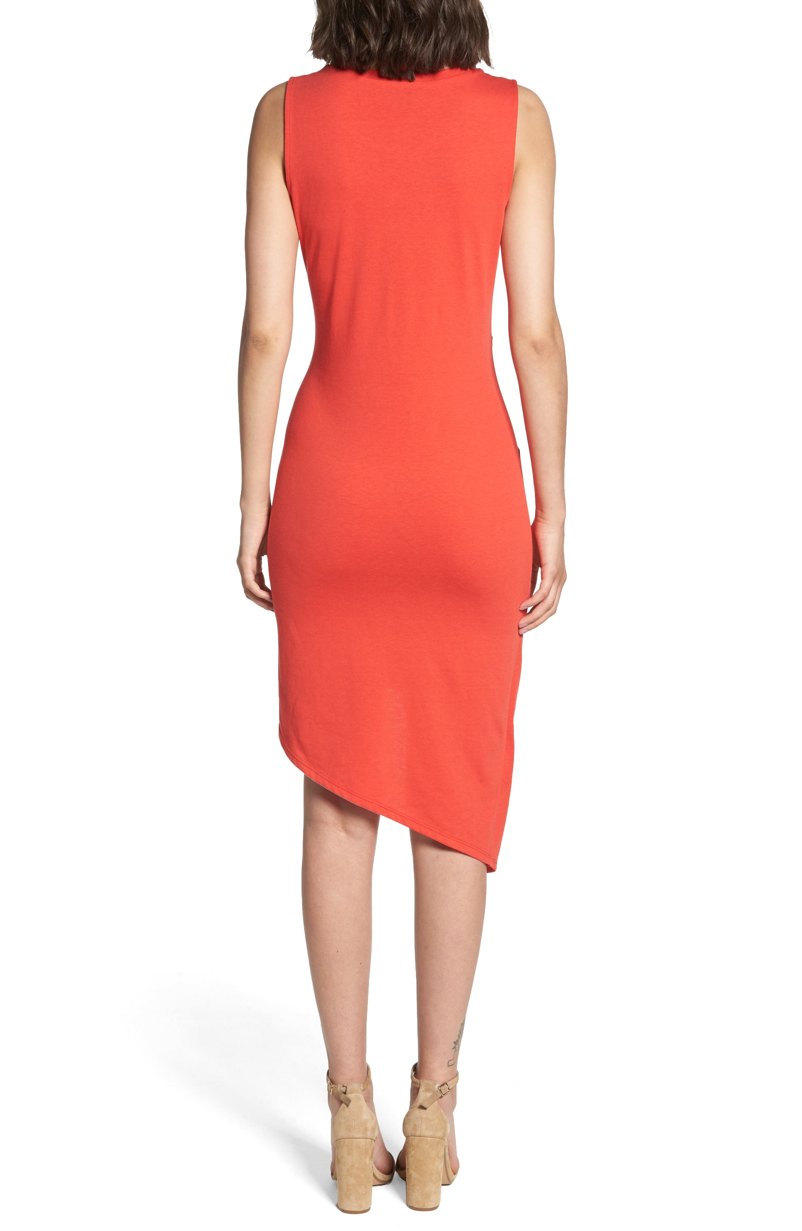 Twist Front Dress,                             Alternate thumbnail 2, color,                             Red Poppy