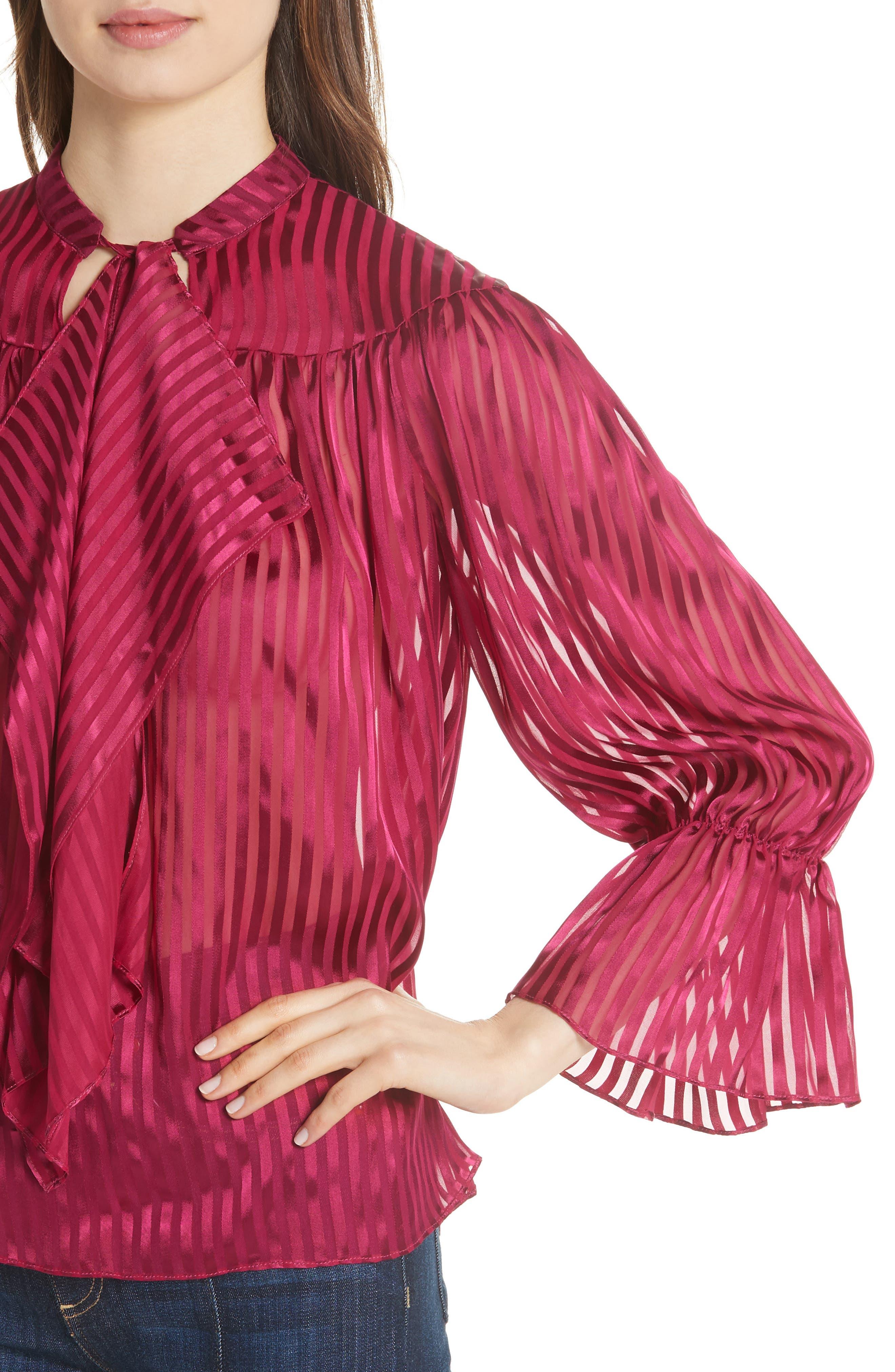 Danika Tie Neck Blouse,                             Alternate thumbnail 4, color,                             Mini Stripe/ Raspberry