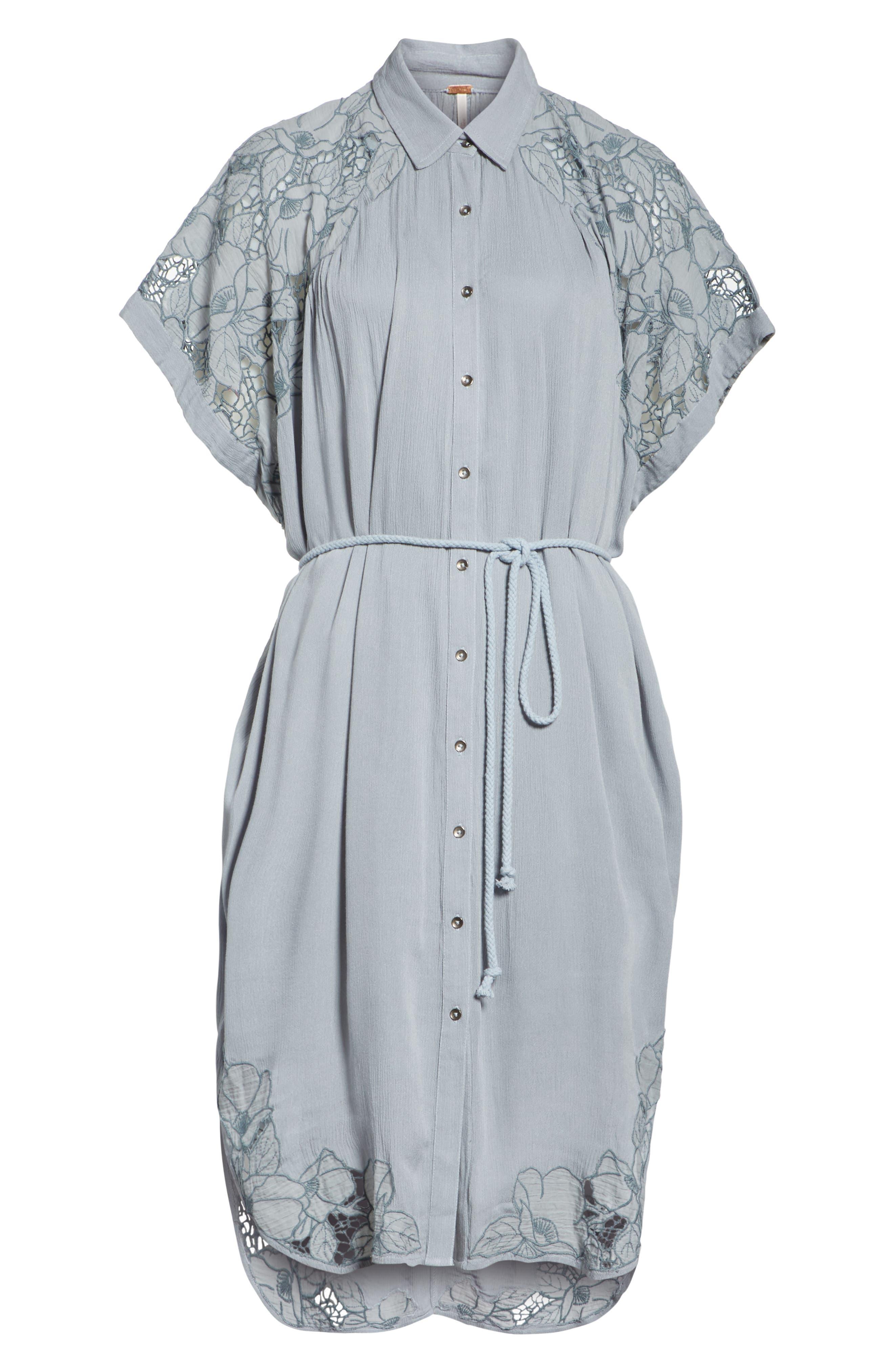 Cut It Out Midi Shirtdress,                             Alternate thumbnail 7, color,                             Blue
