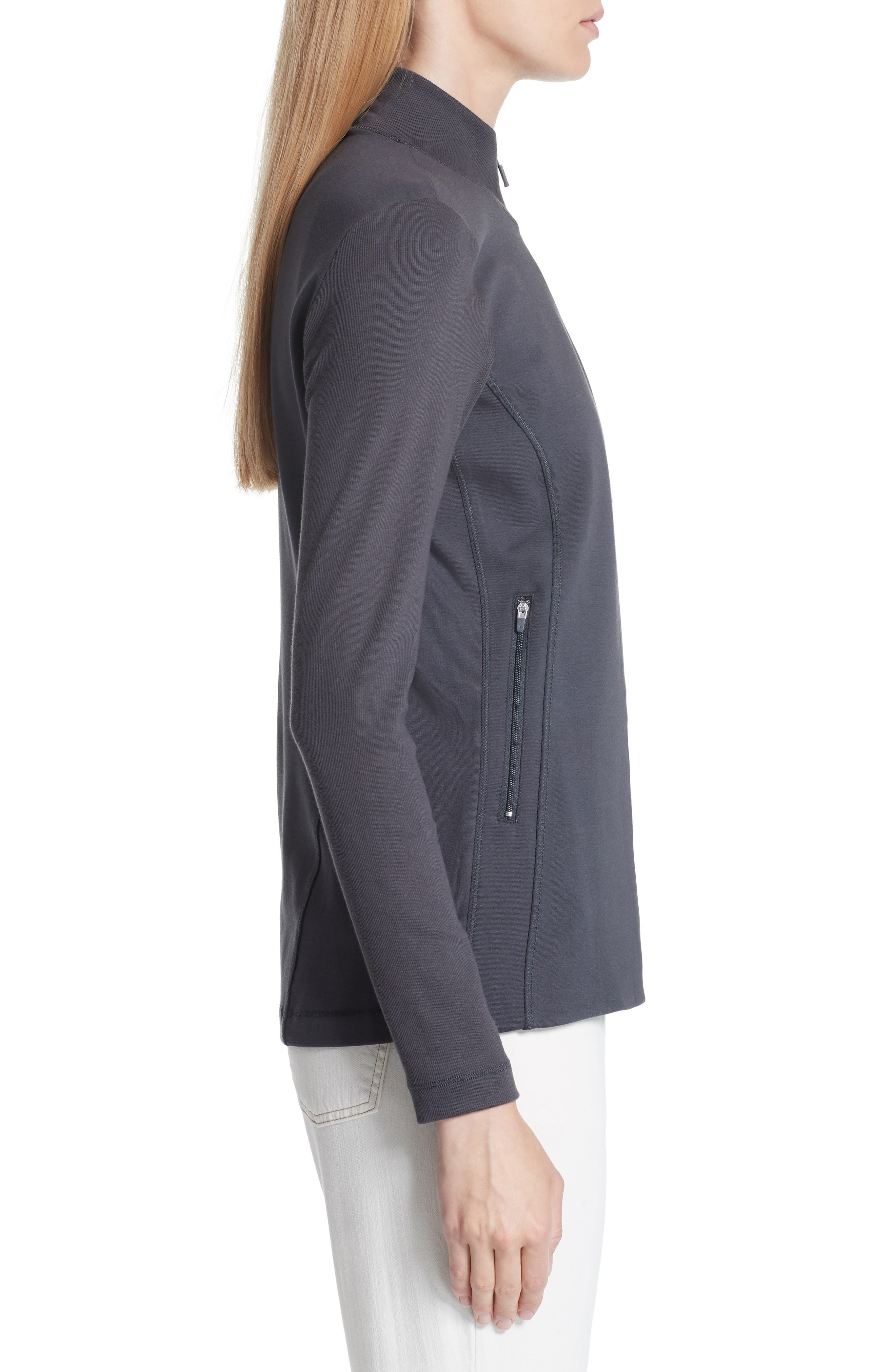 Mixed Organic Cotton Stretch Knit Jacket,                             Alternate thumbnail 3, color,                             Graphite