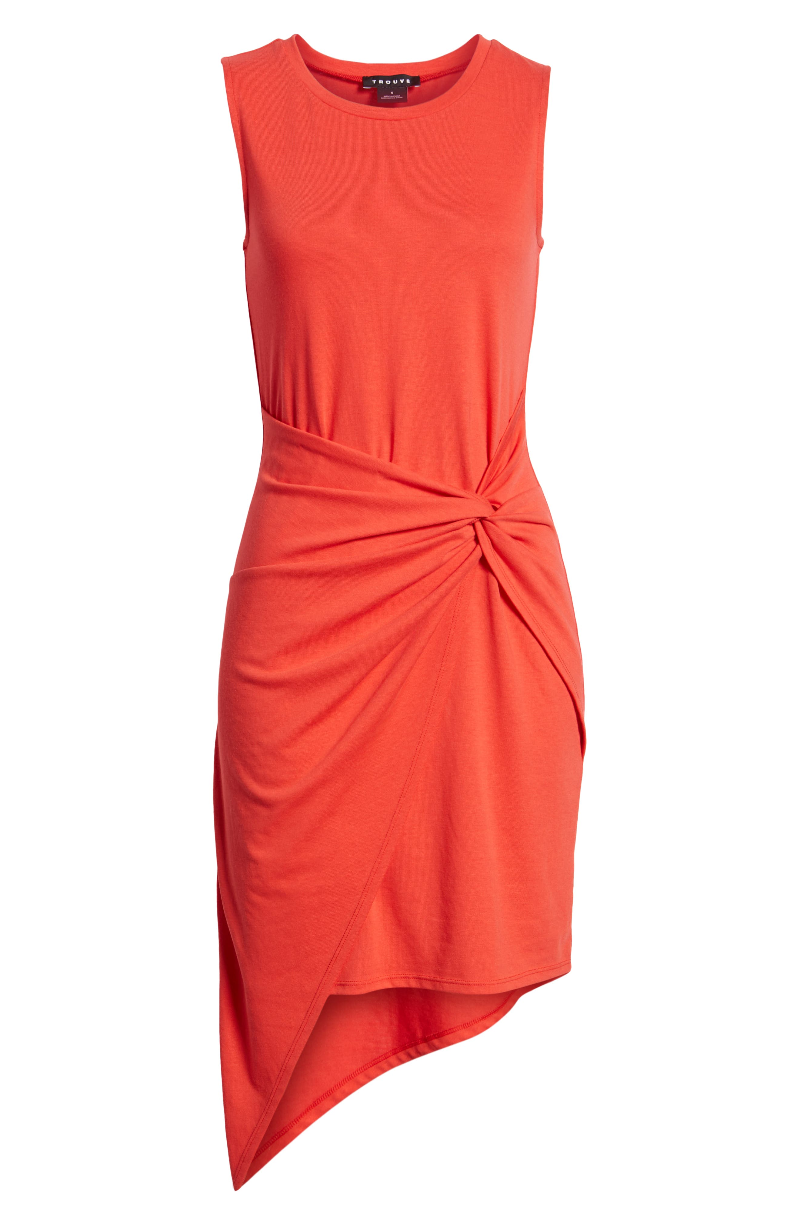 Twist Front Dress,                             Alternate thumbnail 7, color,                             Red Poppy
