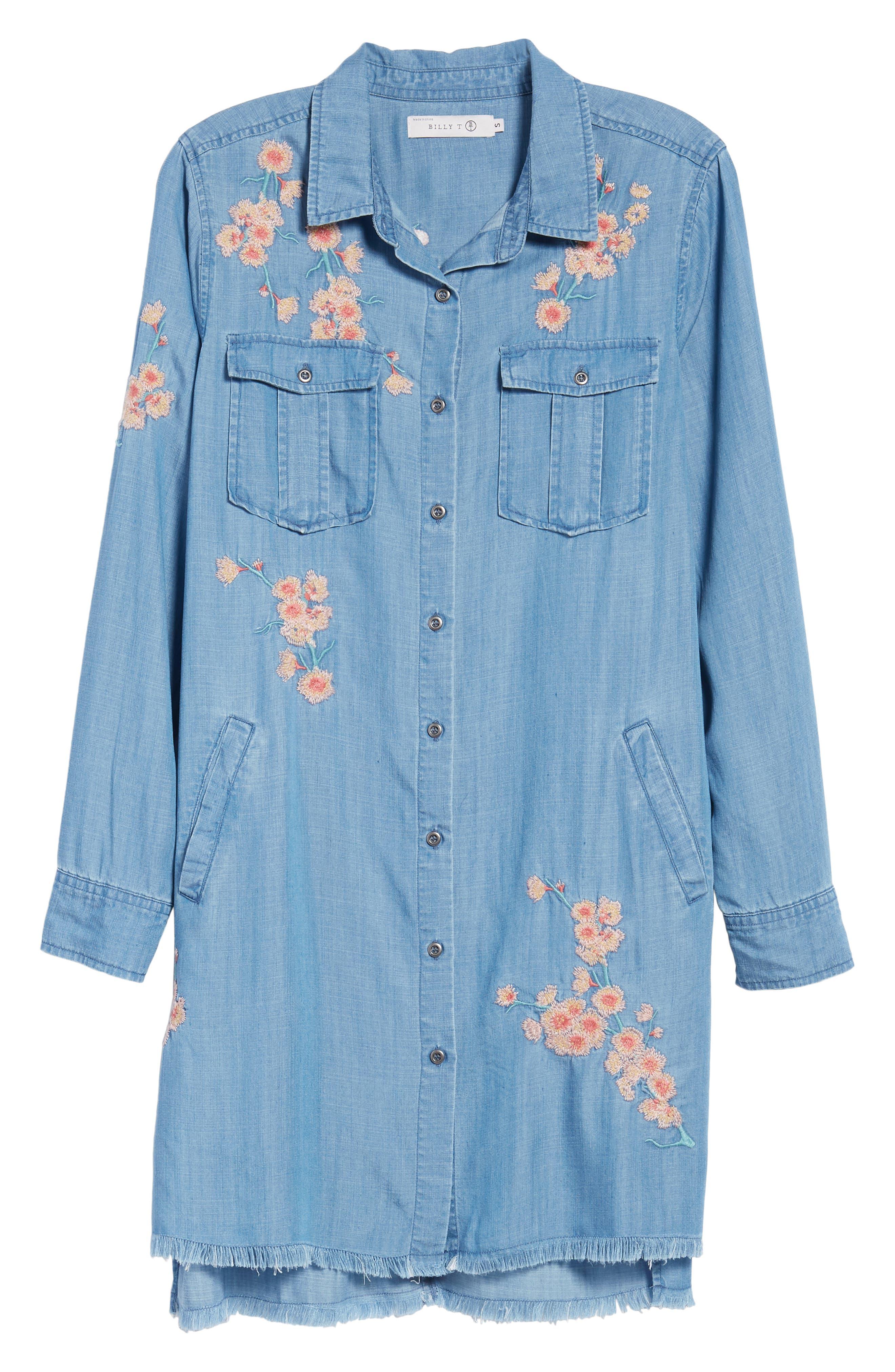 Cherry Blossom Shirtdress,                             Alternate thumbnail 7, color,                             Blue Emb