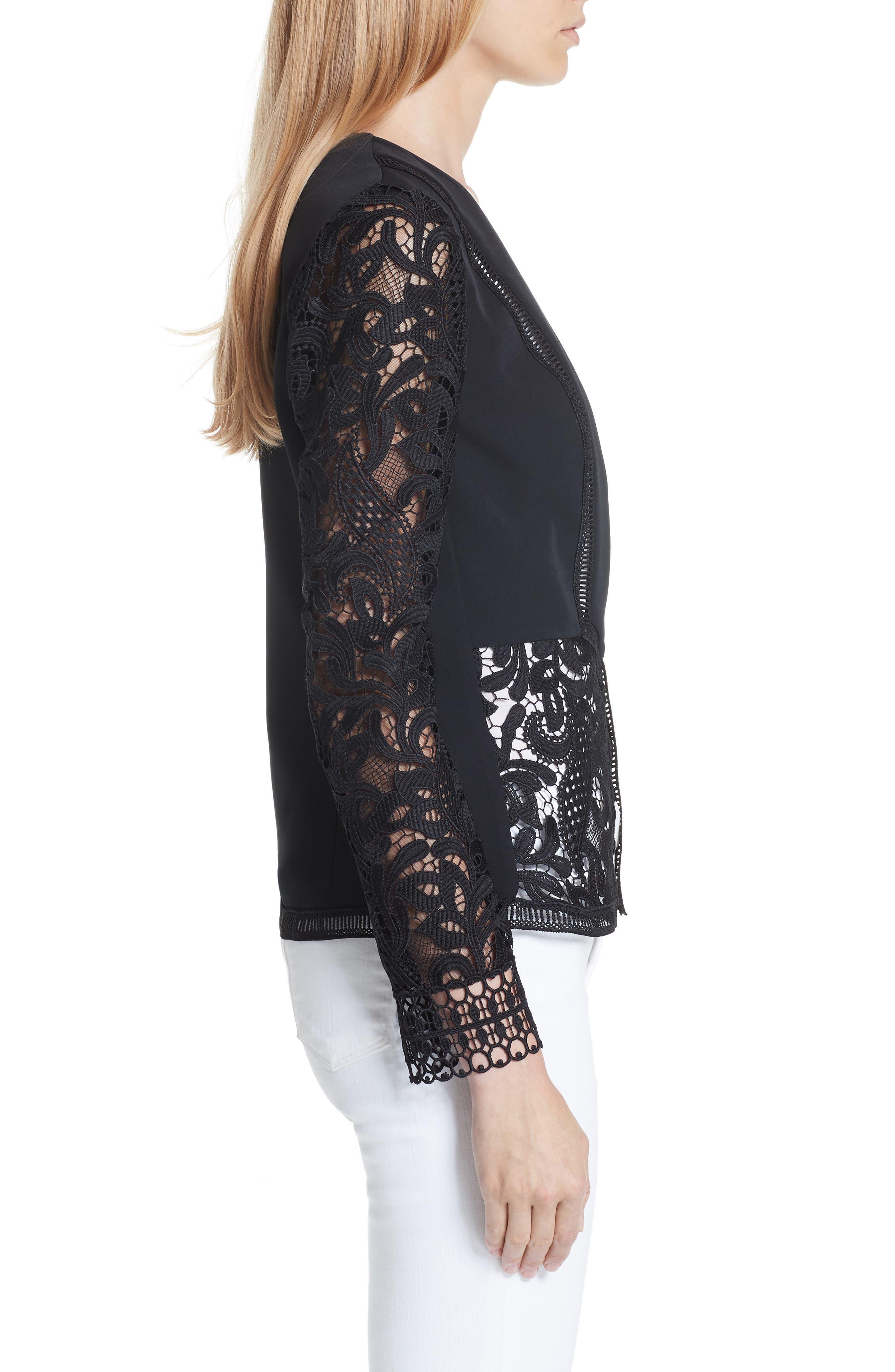Liela Sheer Lace Panel Jacket,                             Alternate thumbnail 3, color,                             Black