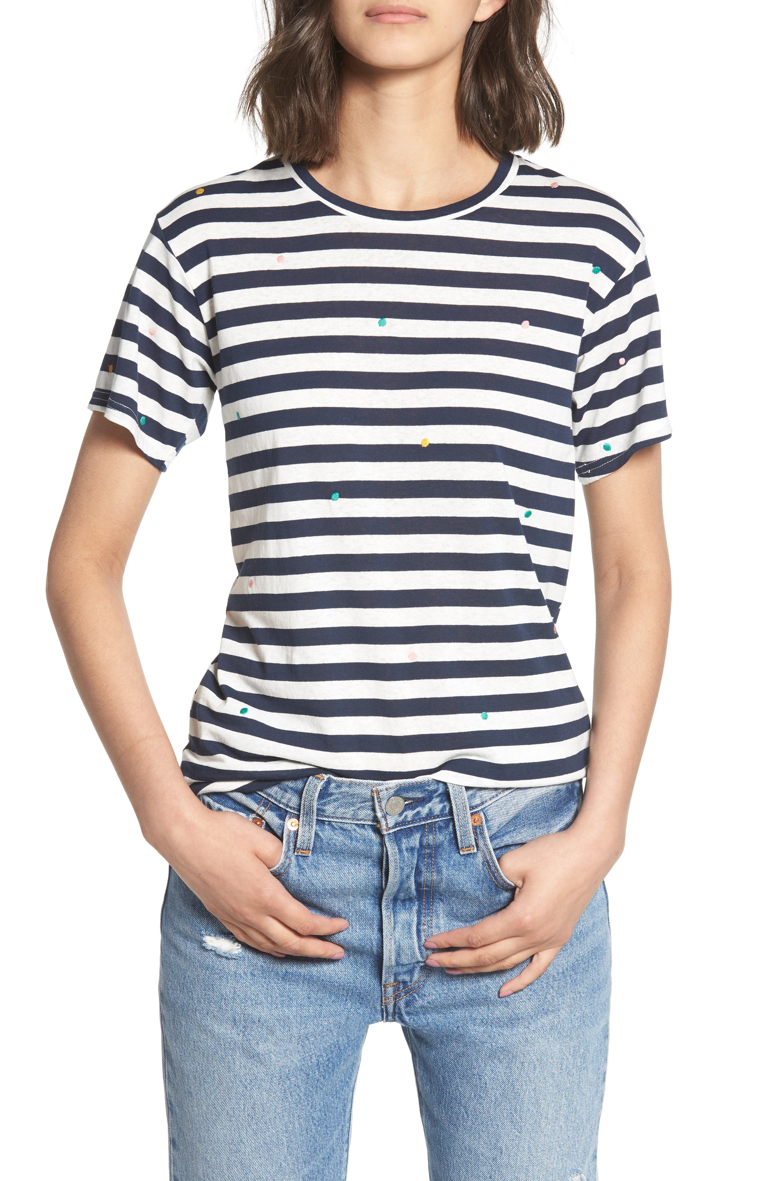 Polka Dot Embroidered Stripe Tee,                         Main,                         color, Navy/ White