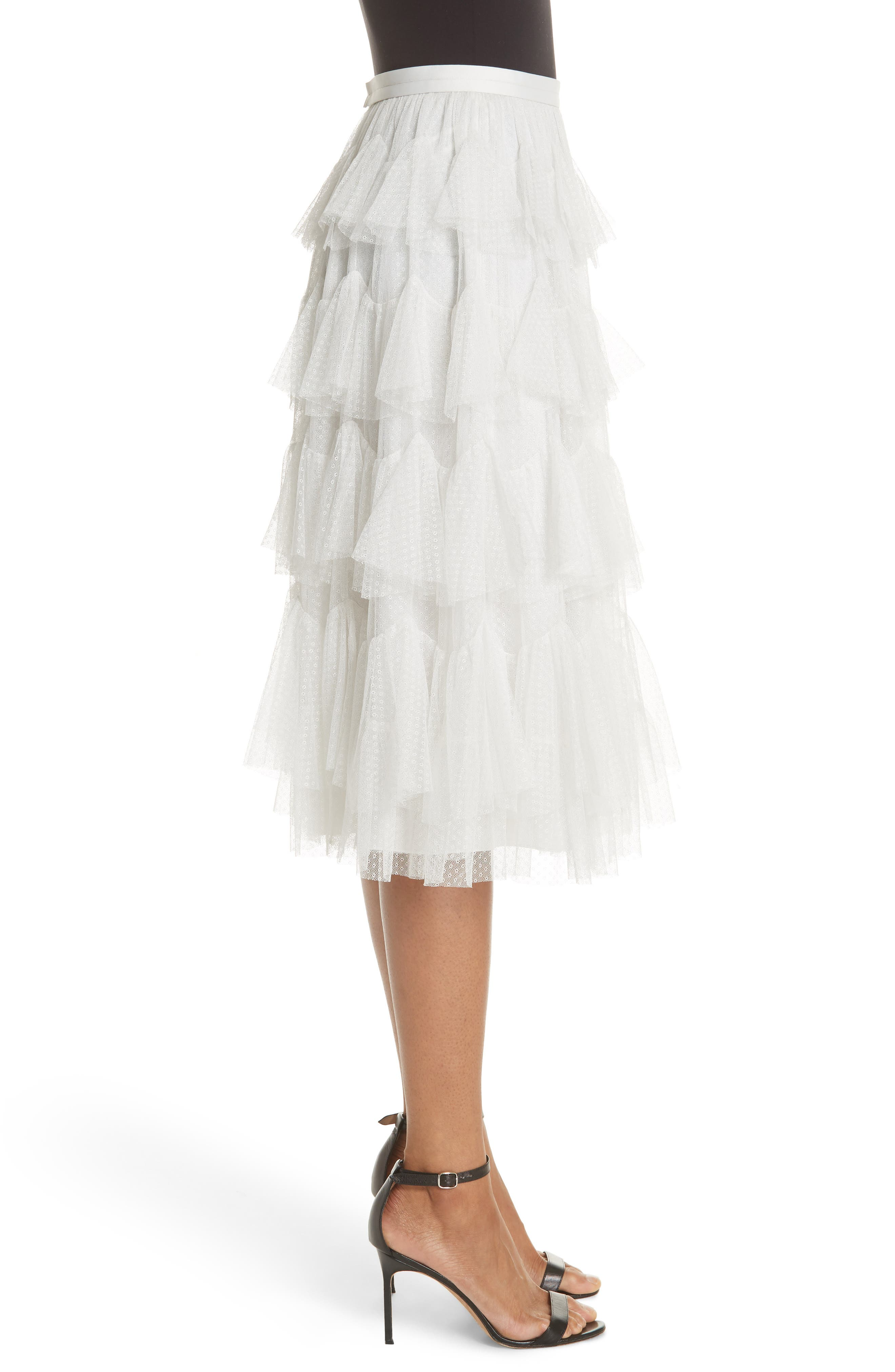 Tiered Tulle Skirt,                             Alternate thumbnail 3, color,                             Pearl