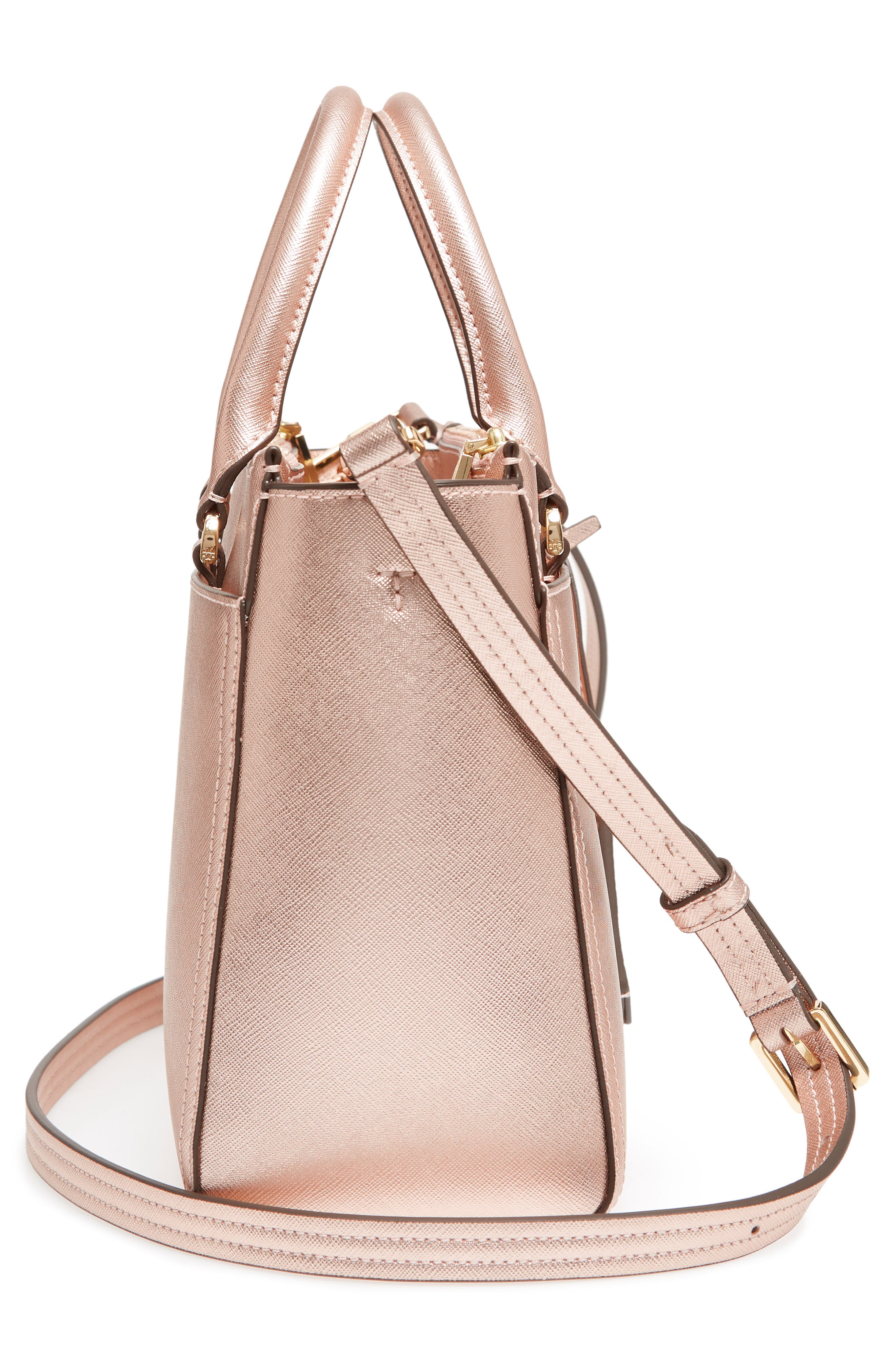 Small Robinson Double-Zip Metallic Leather Tote,                             Alternate thumbnail 5, color,                             Light Rose Gold