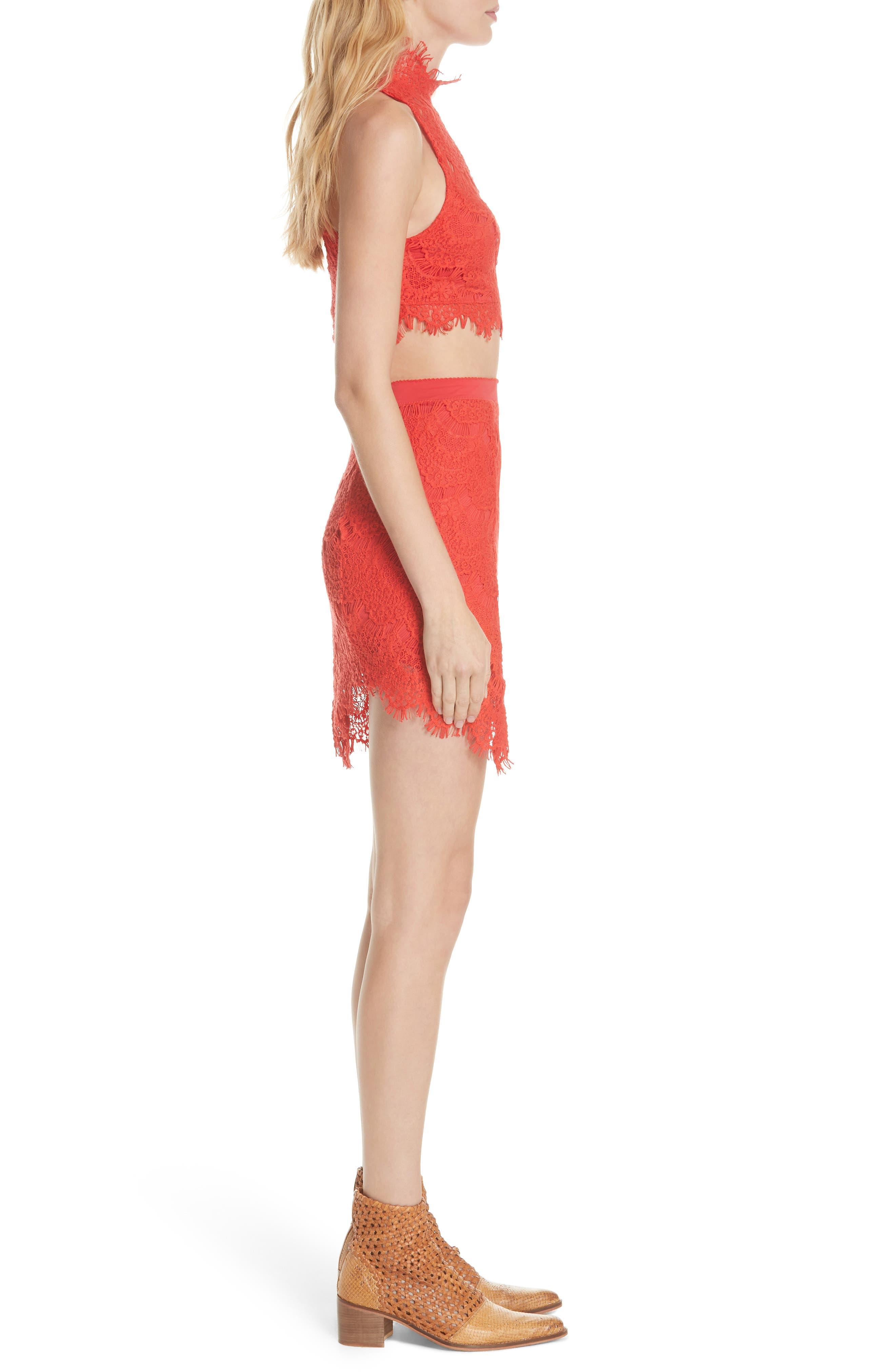 Sabina Crop Top & Skirt,                             Alternate thumbnail 3, color,                             Red