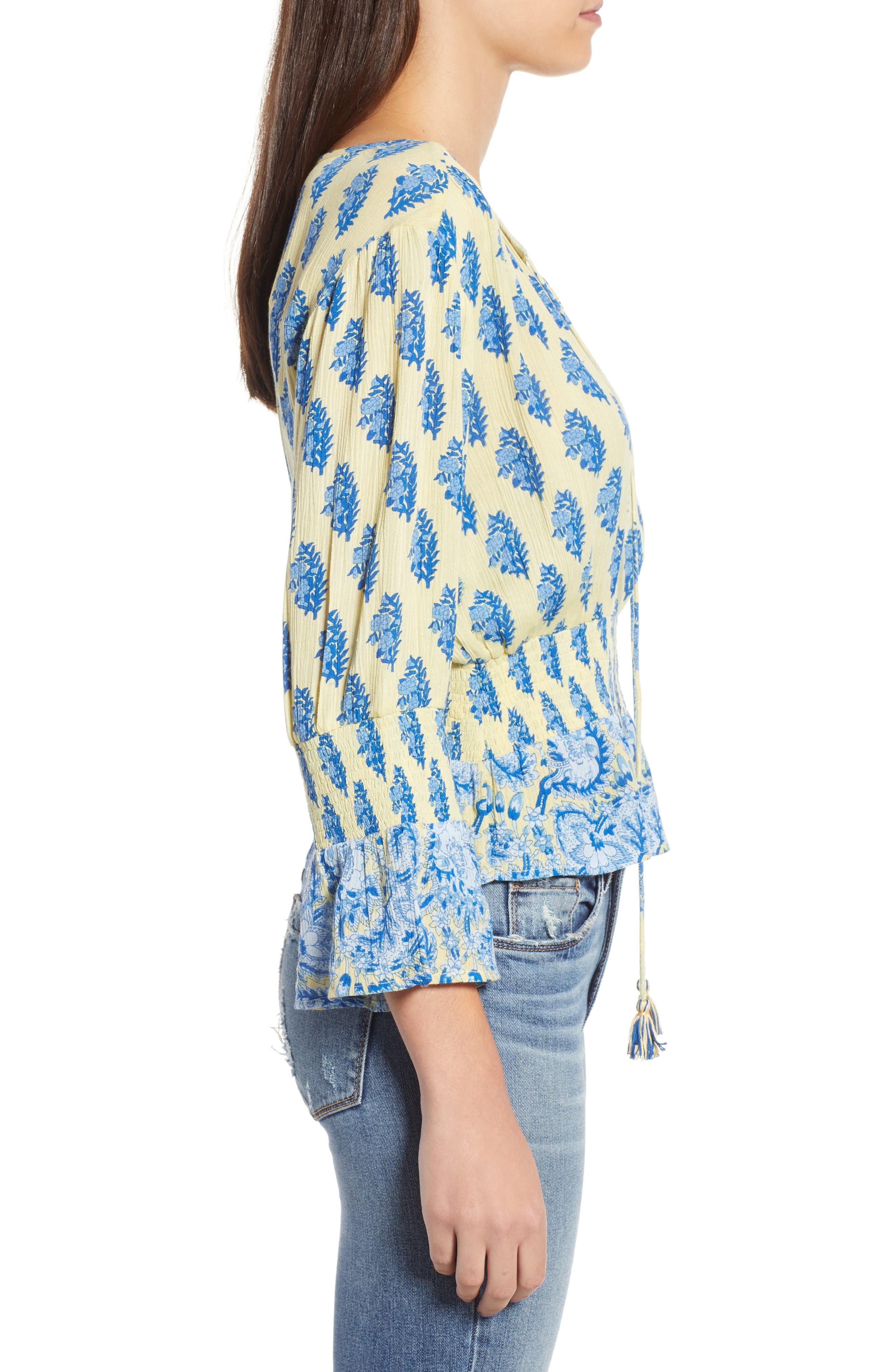 Sunlit Daze Tie Neck Blouse,                             Alternate thumbnail 4, color,                             Yellow