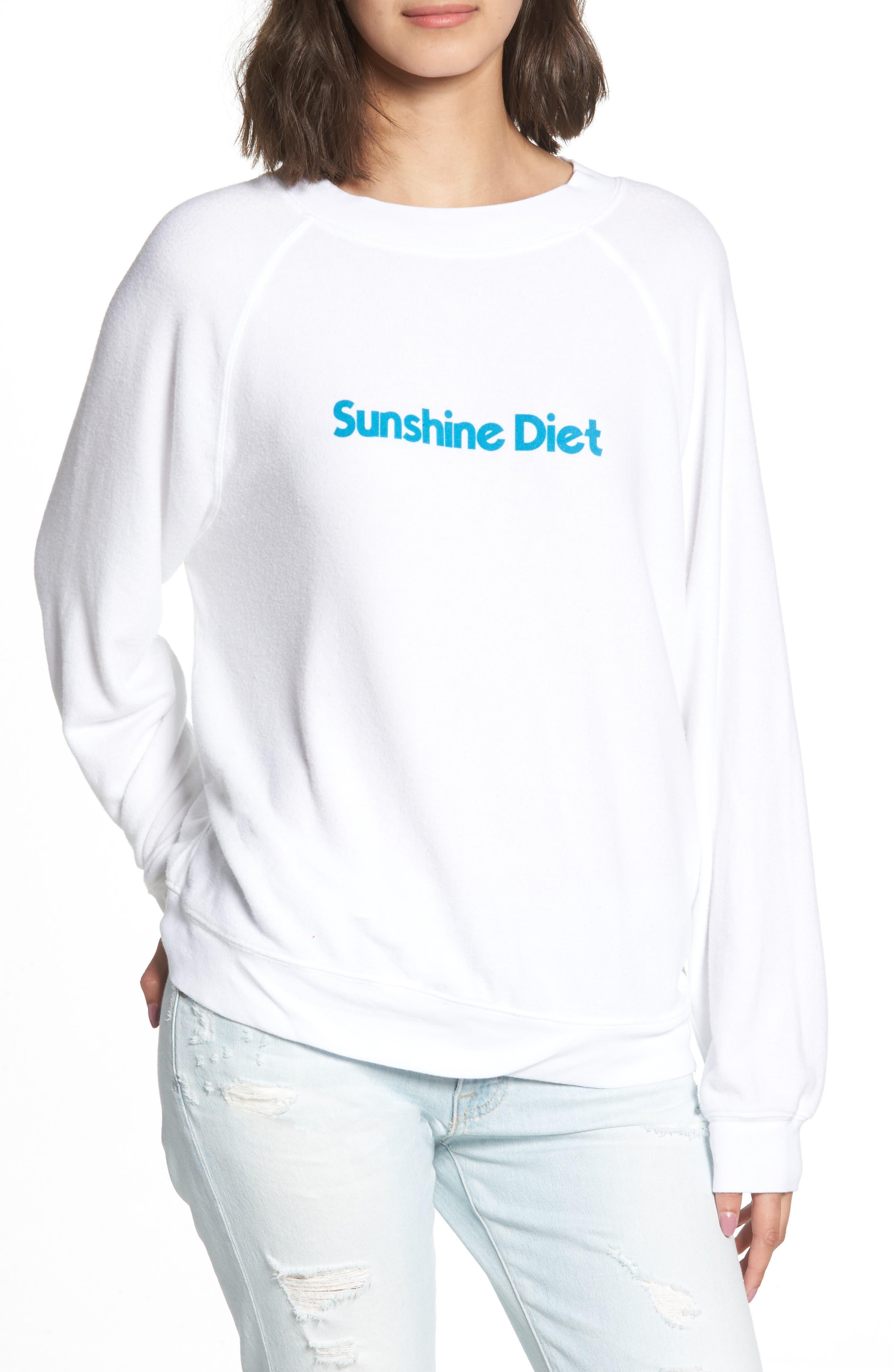 Sunshine Diet Sommers Sweatshirt,                             Main thumbnail 1, color,                             Clean White