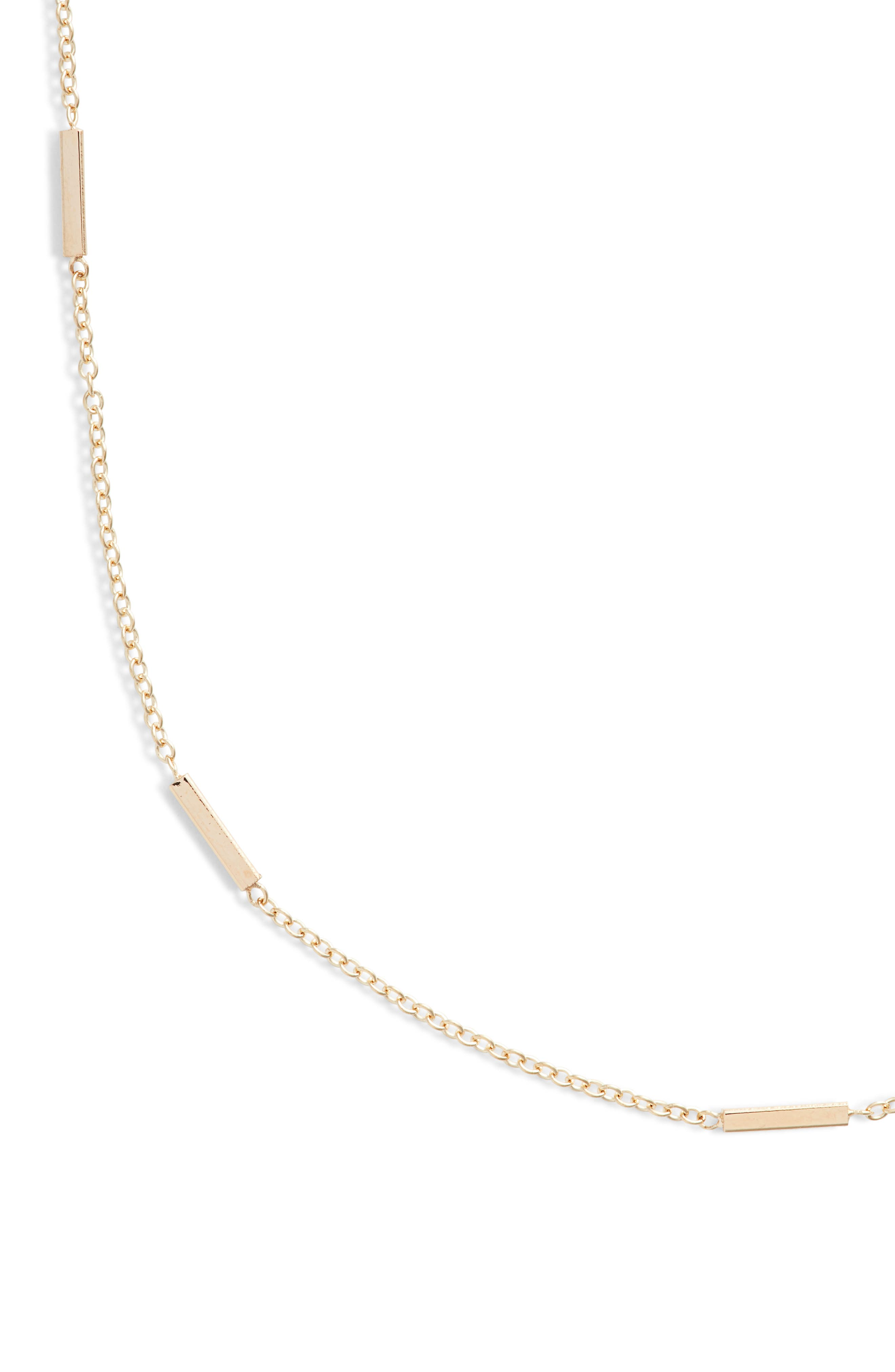 Tiny Bar Station Short Necklace,                             Alternate thumbnail 2, color,                             Yellow Gold