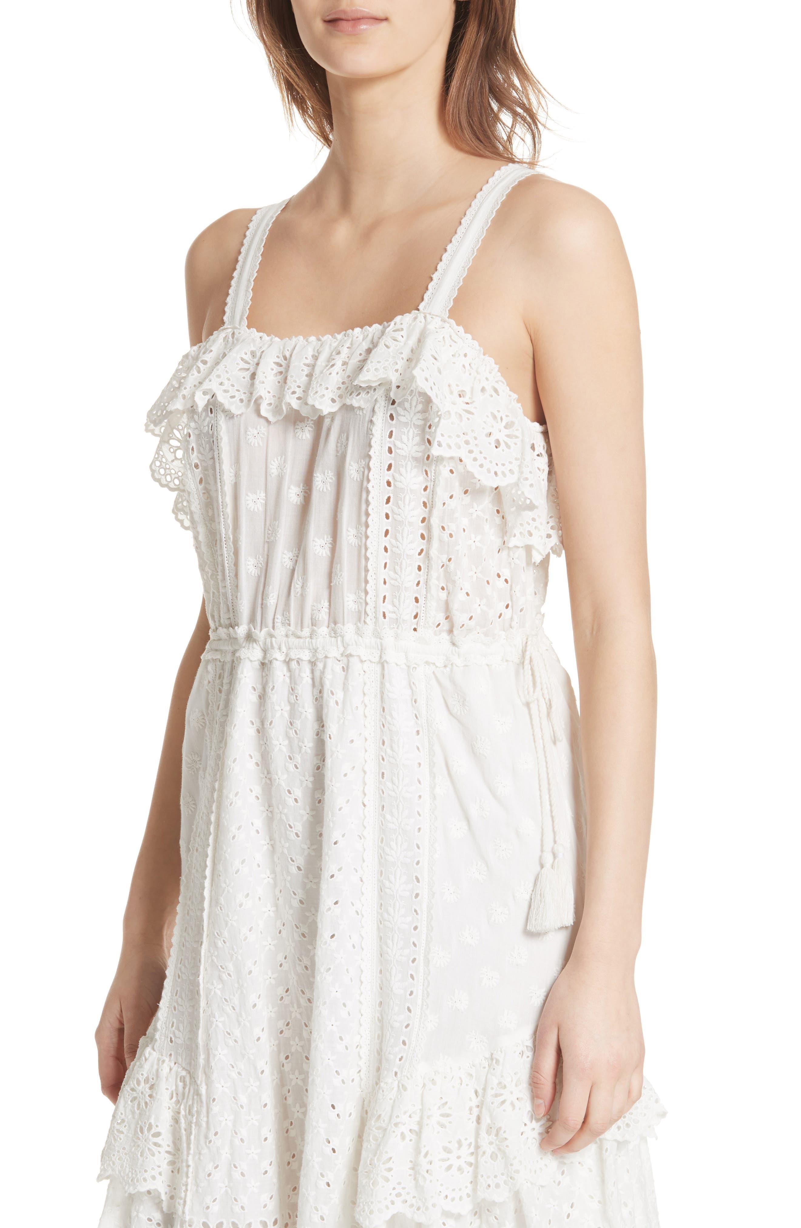 Edwina Eyelet Dress,                             Alternate thumbnail 4, color,                             Blanc