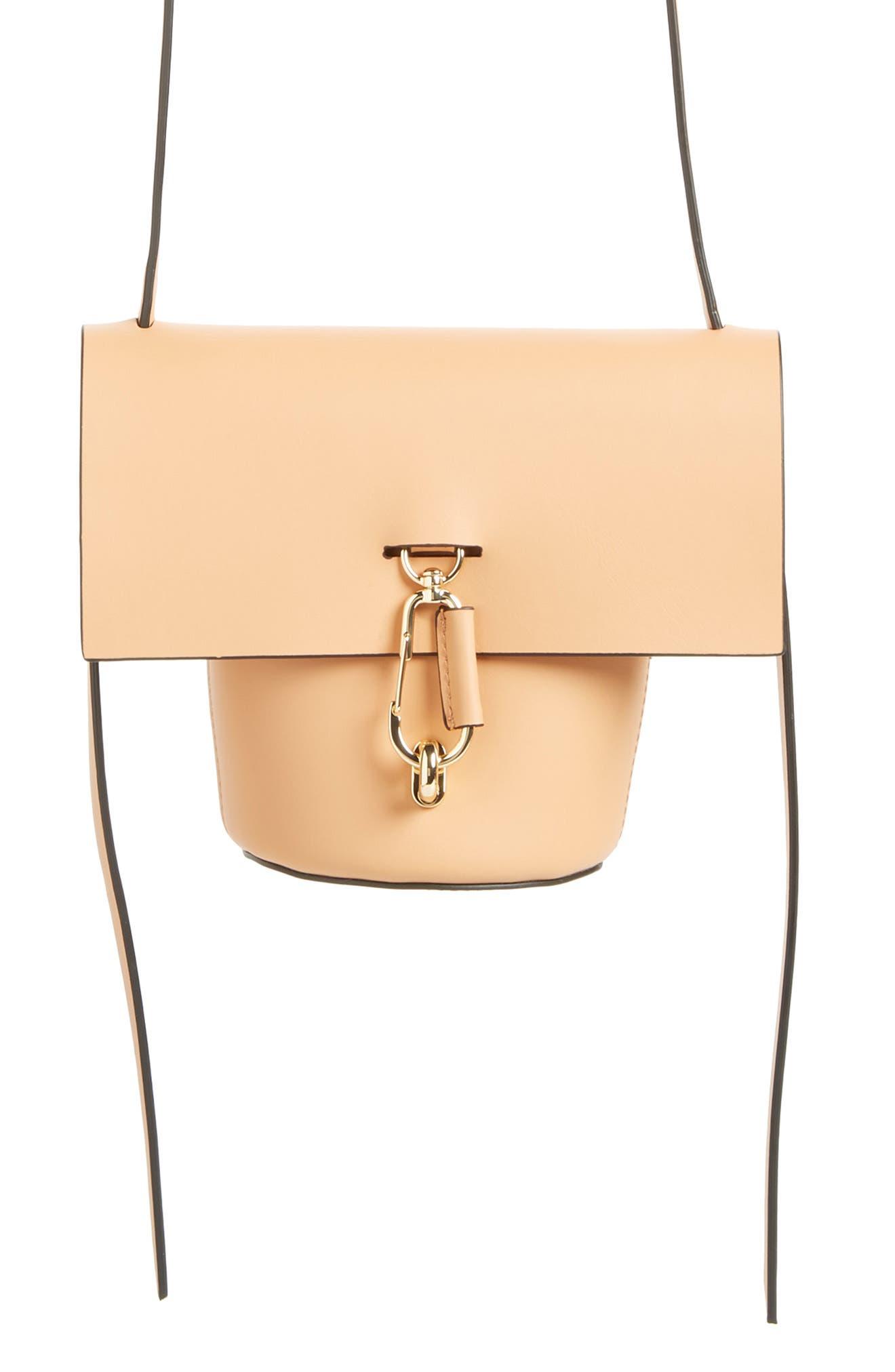 Mini Belay Calfskin Leather Crossbody Bucket Bag,                             Main thumbnail 1, color,                             Vachetta