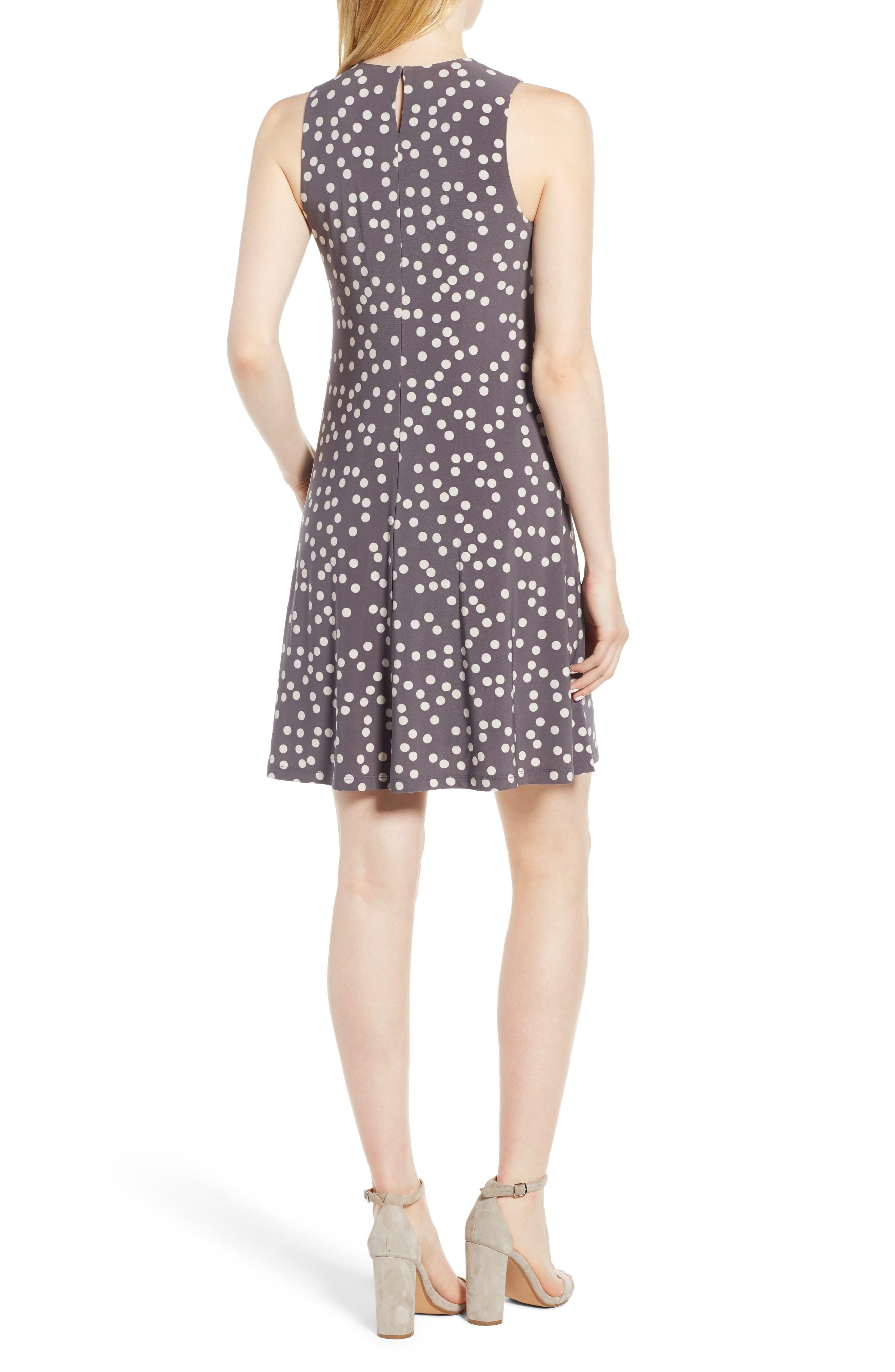 Dot Print Swing Dress,                             Alternate thumbnail 2, color,                             Nantucket Grey/ Oyster Shell