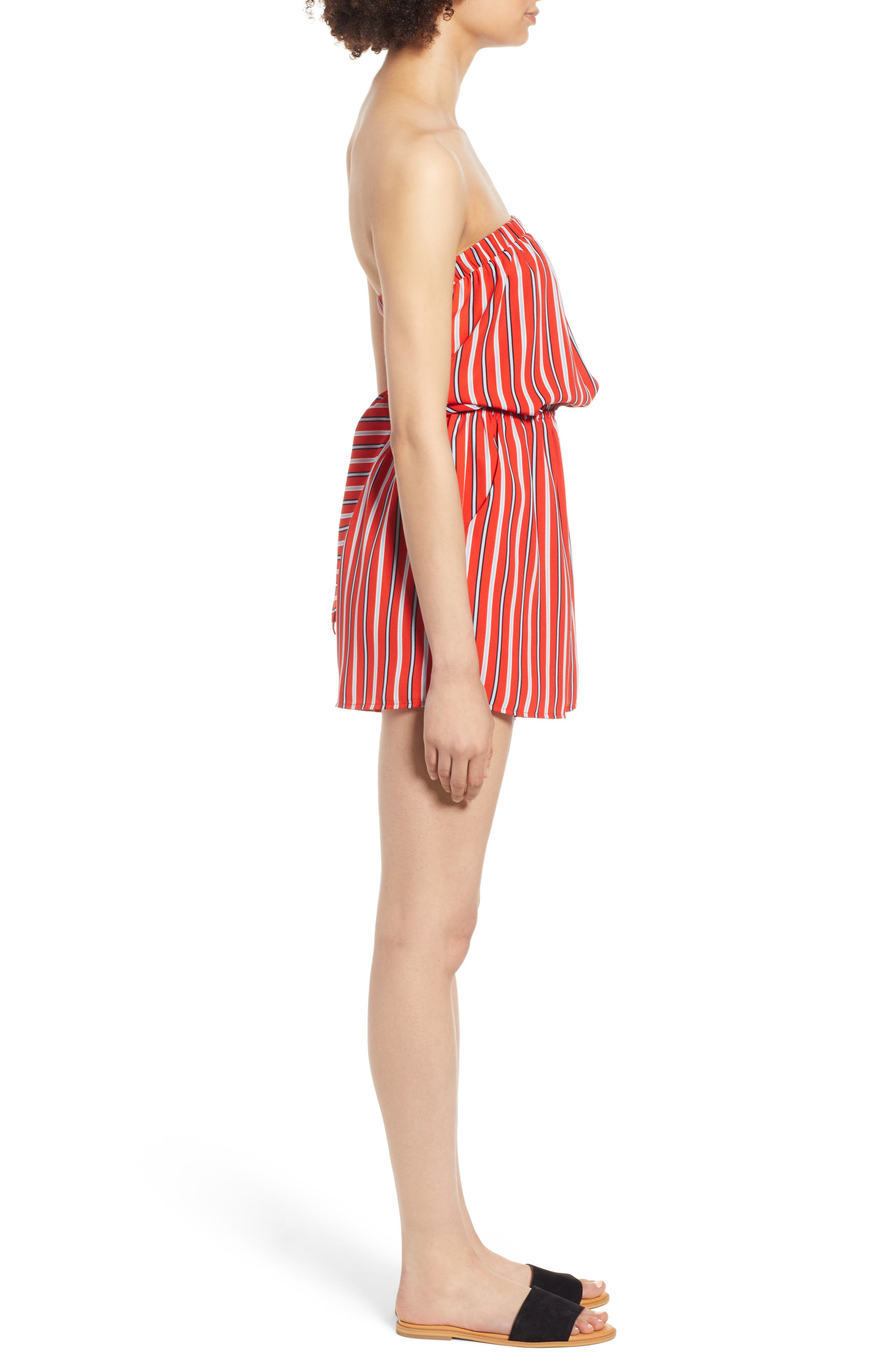 Strapless Tie Back Romper,                             Alternate thumbnail 3, color,                             Candy Red