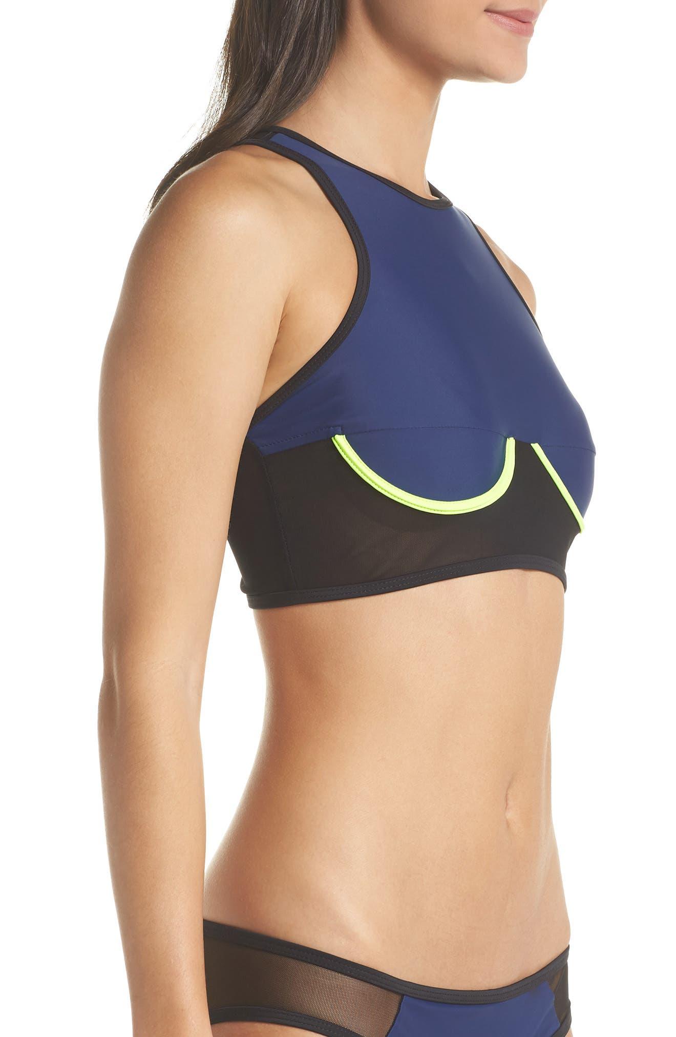 Racer Bikini Top,                             Alternate thumbnail 3, color,                             Blue/ Black/ Yellow